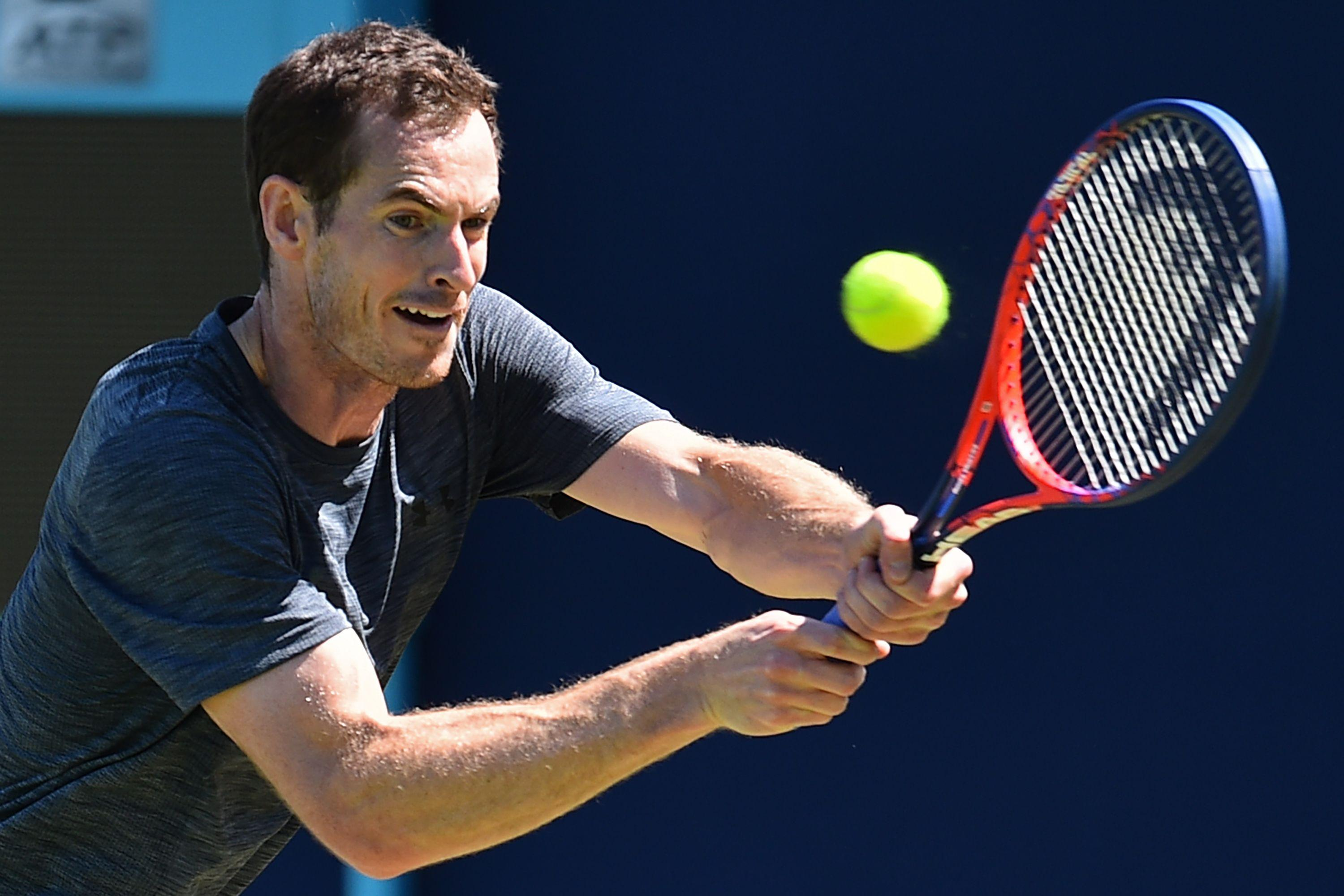 Andy Murray was in action training at Queen's Club on Monday