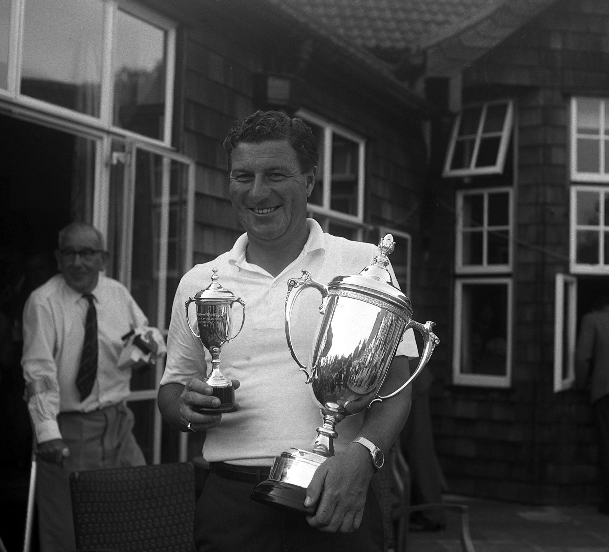 Champion Peter Thomson celebrates at the 1966 News of the World Tournament in Walton Heath, Surrey