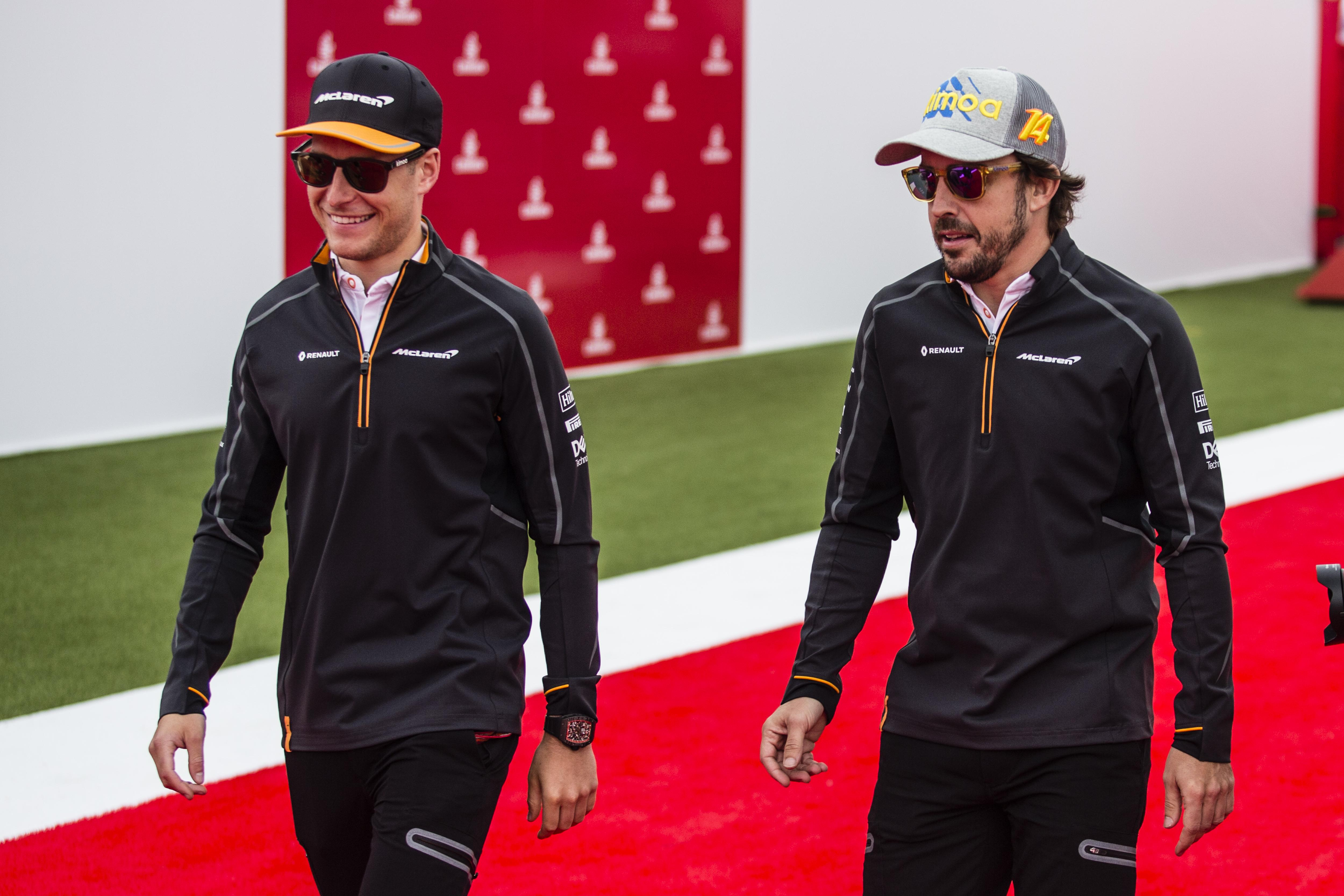Drivers Stoffel Vandoorne, left, and Fernando Alonso will be hoping to pick up points at the French Grand Prix this weekend