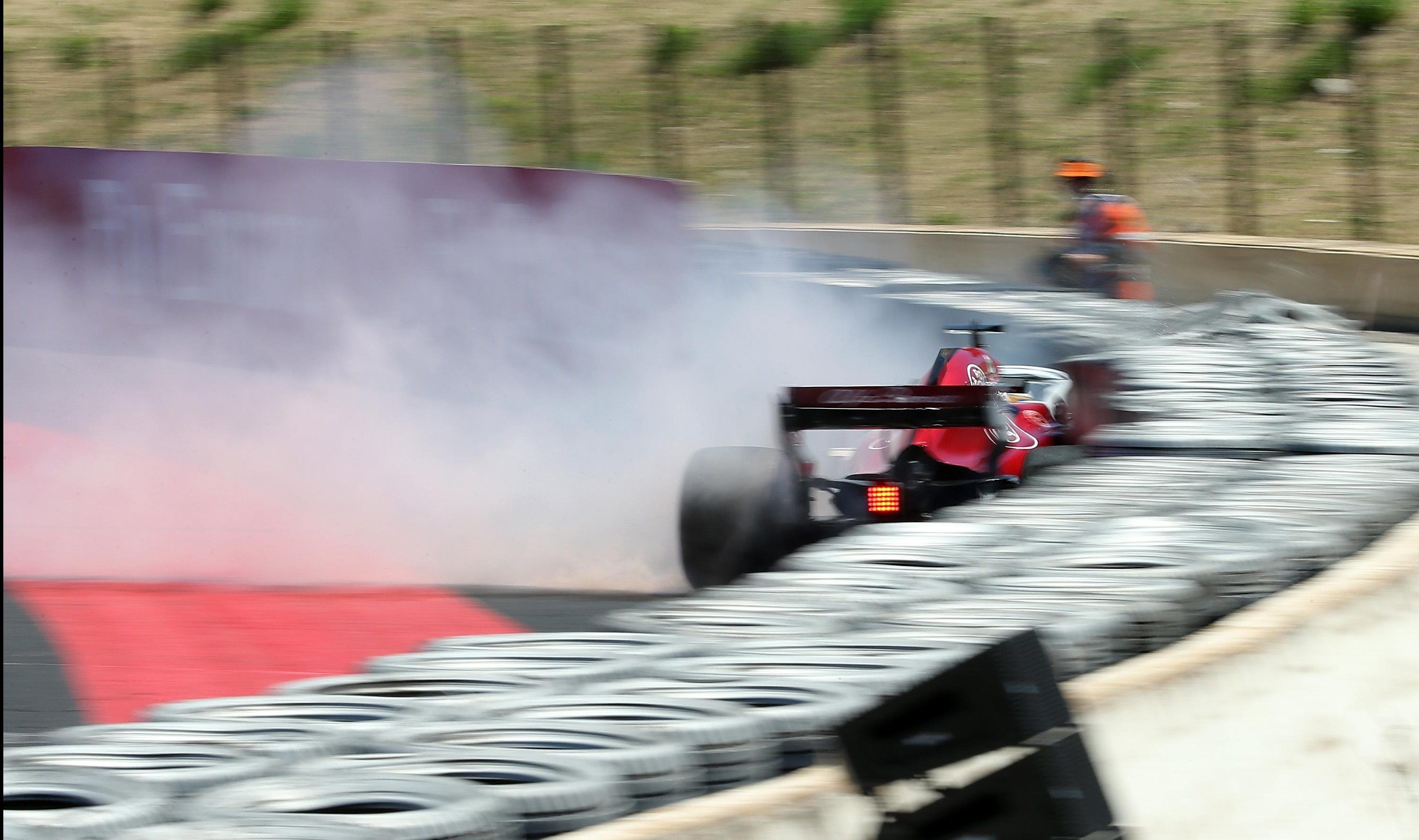 The car went up in flames at the Circuit Paul Ricard, Le Castellet
