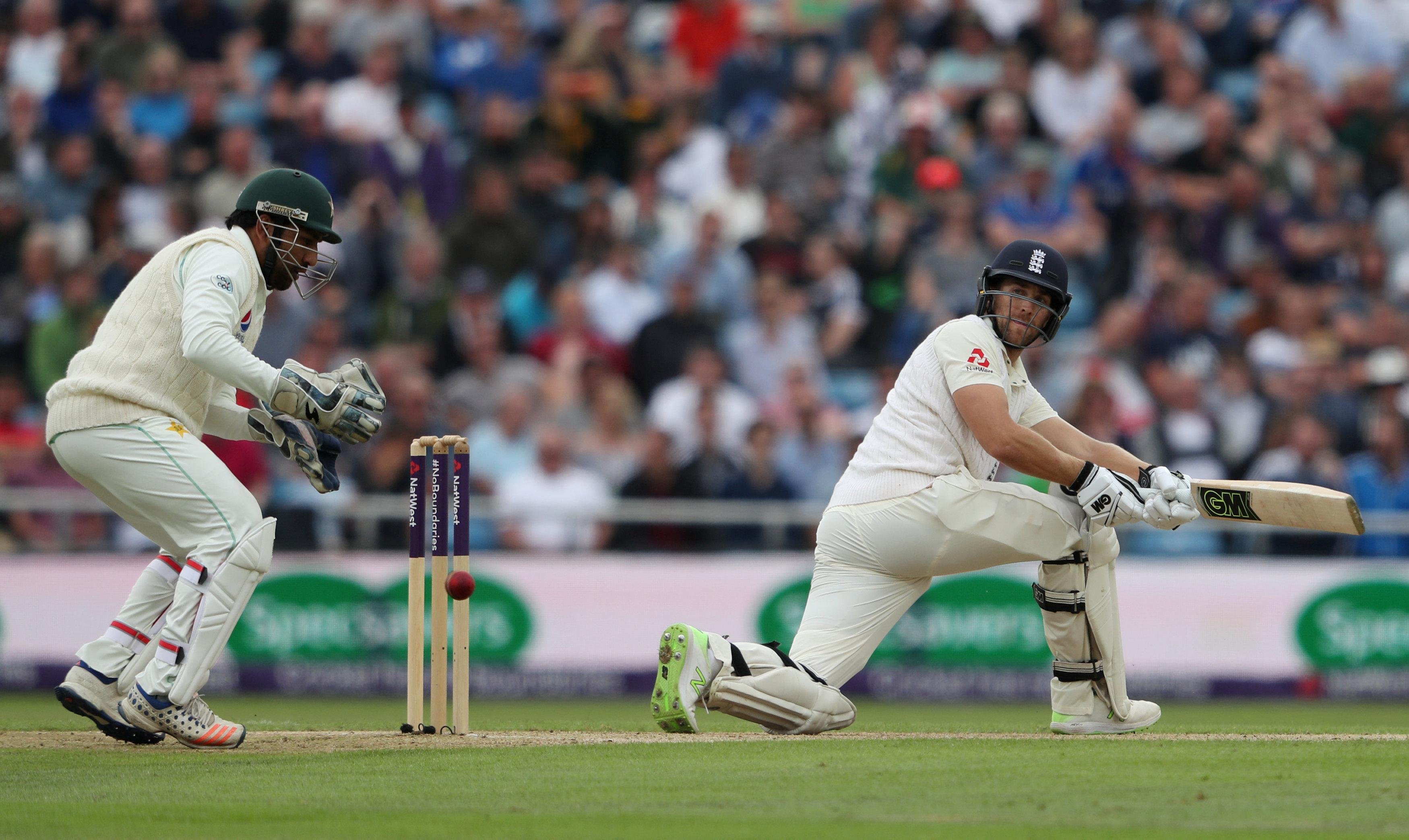Dawid Malan plays a sweep shot on day two at Headingley
