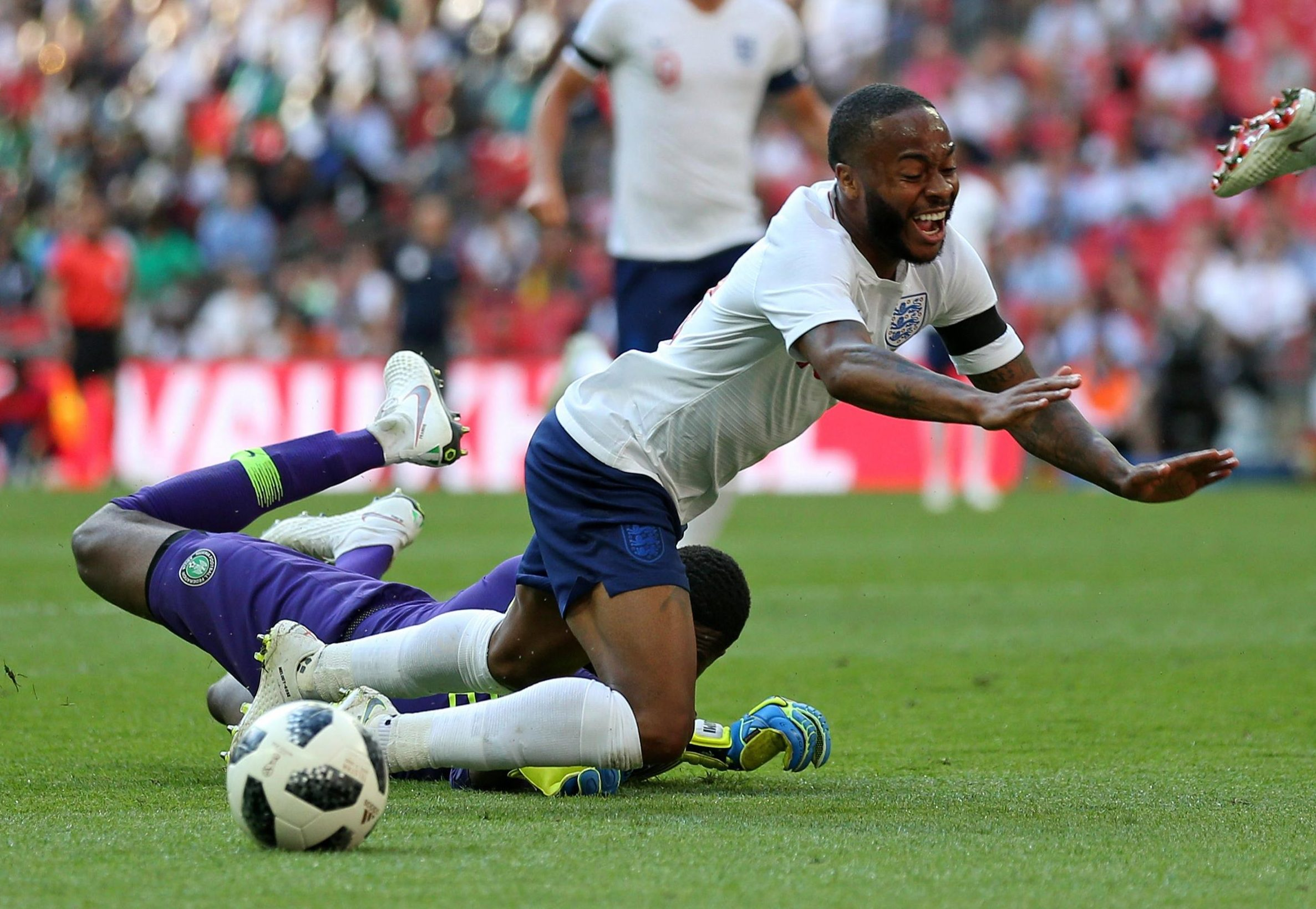 Raheem Sterling was booked for diving at Wembley on Saturday
