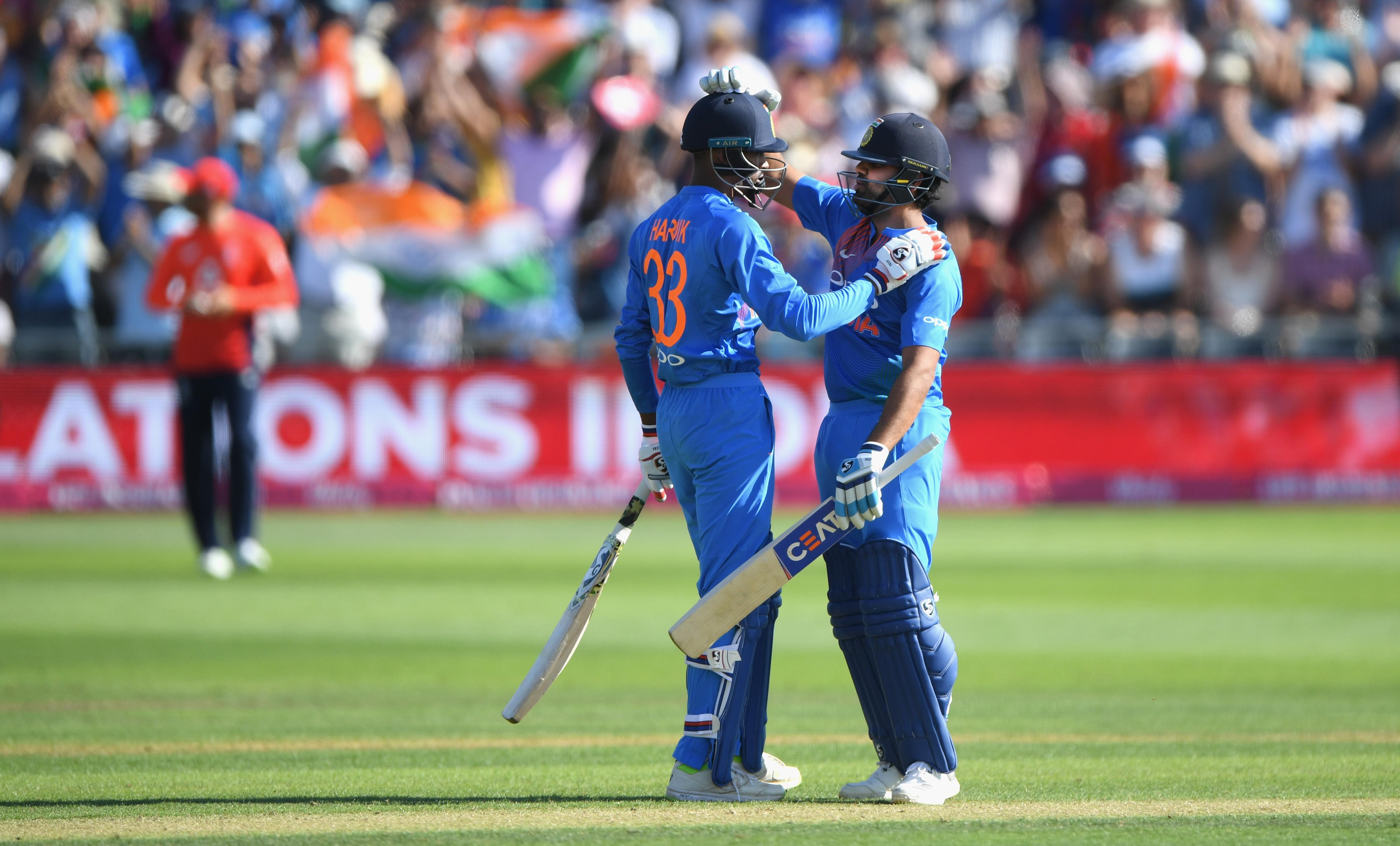 Rohit Sharma and Hardik Pandya celebrate after guiding India home