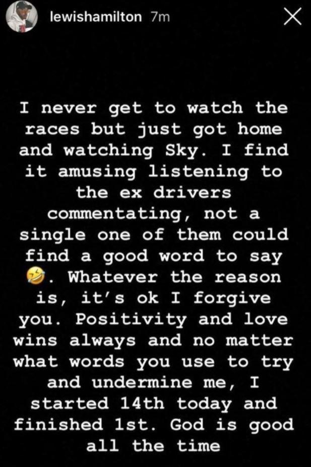 Lewis Hamilton posted this message on Instagram before later deleting it