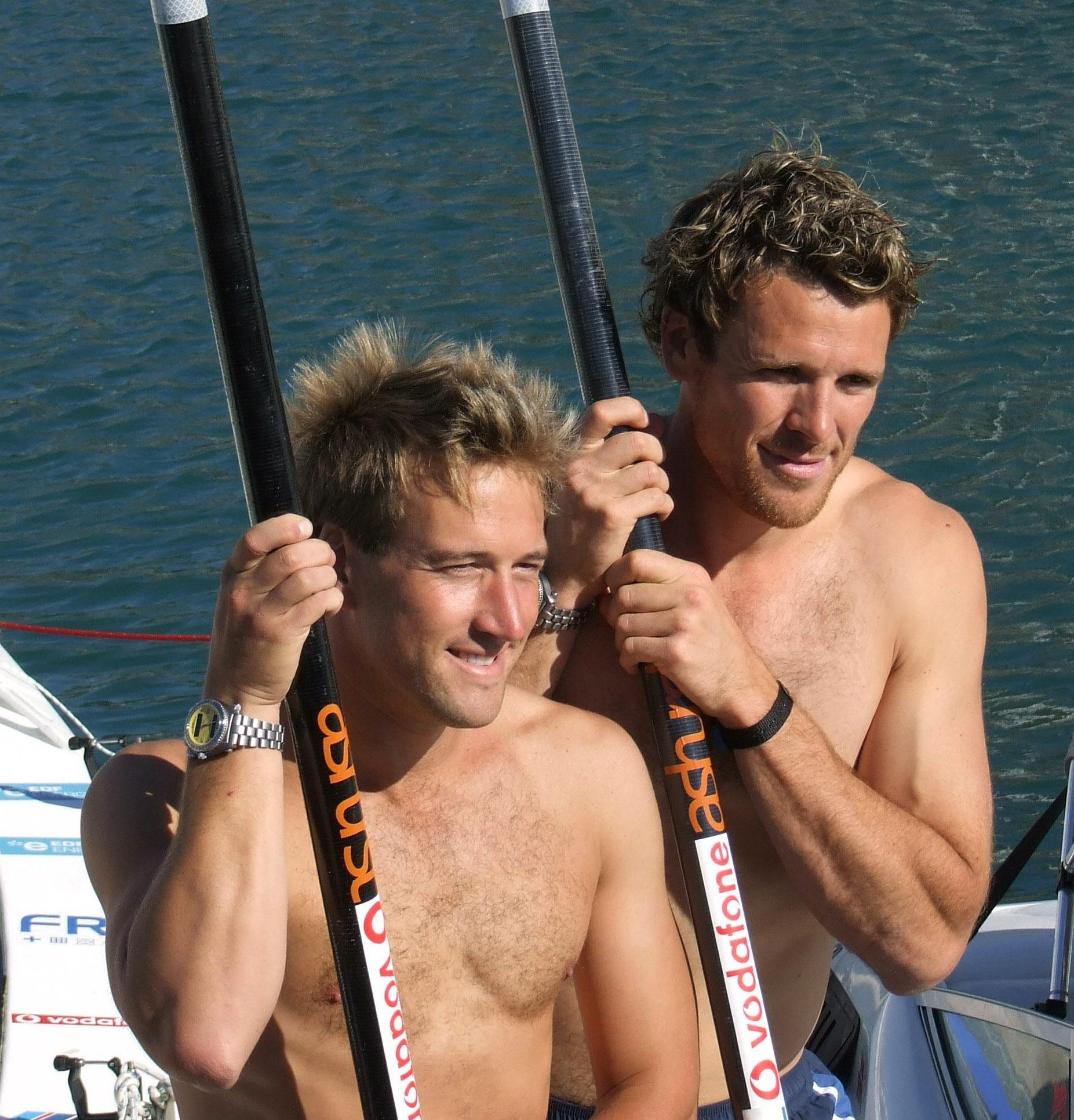 Cracknell and Ben Fogle prepare to row across the Atlantic in 2008