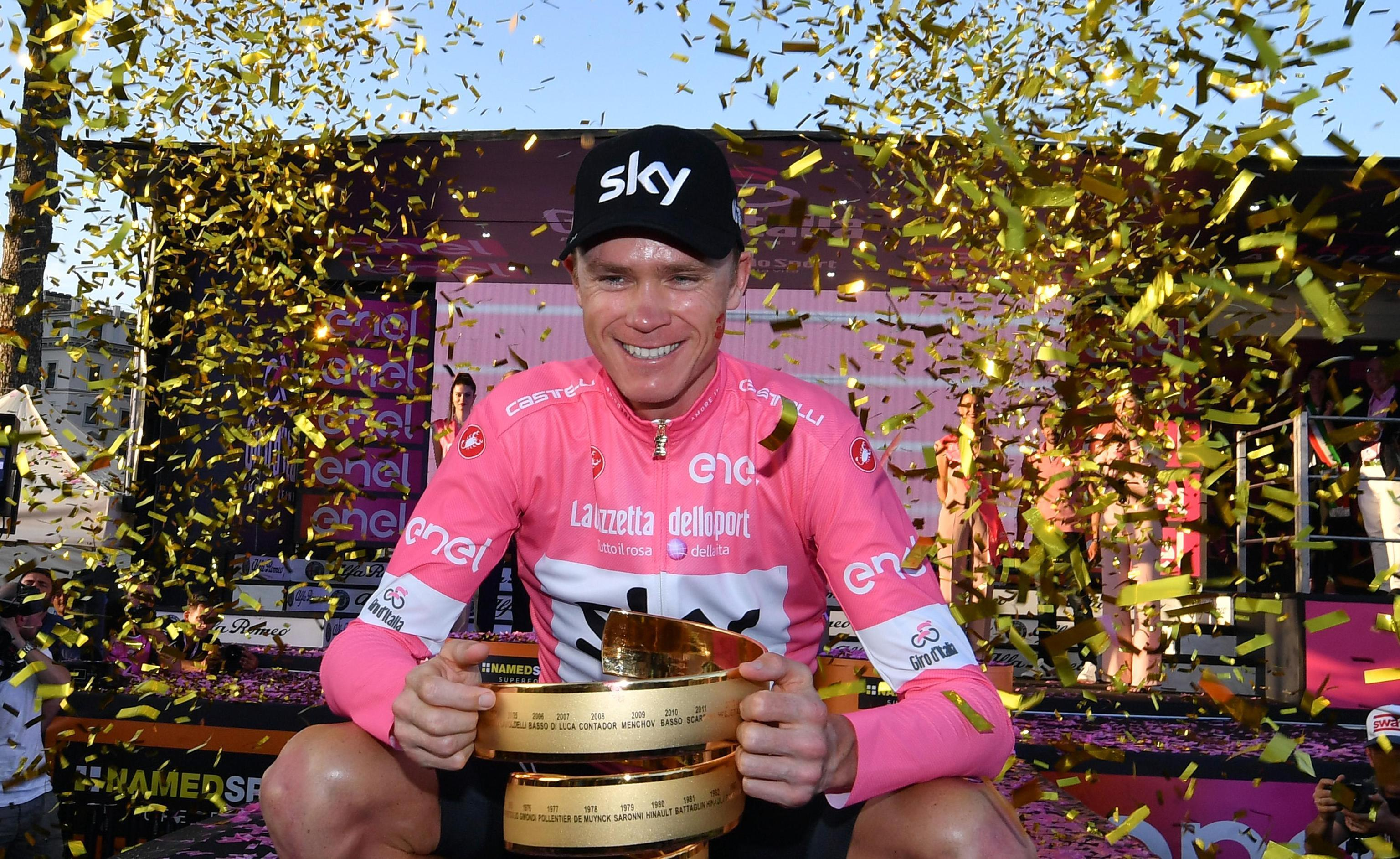 Chris Froome celebrates after winning the Giro d'Italia