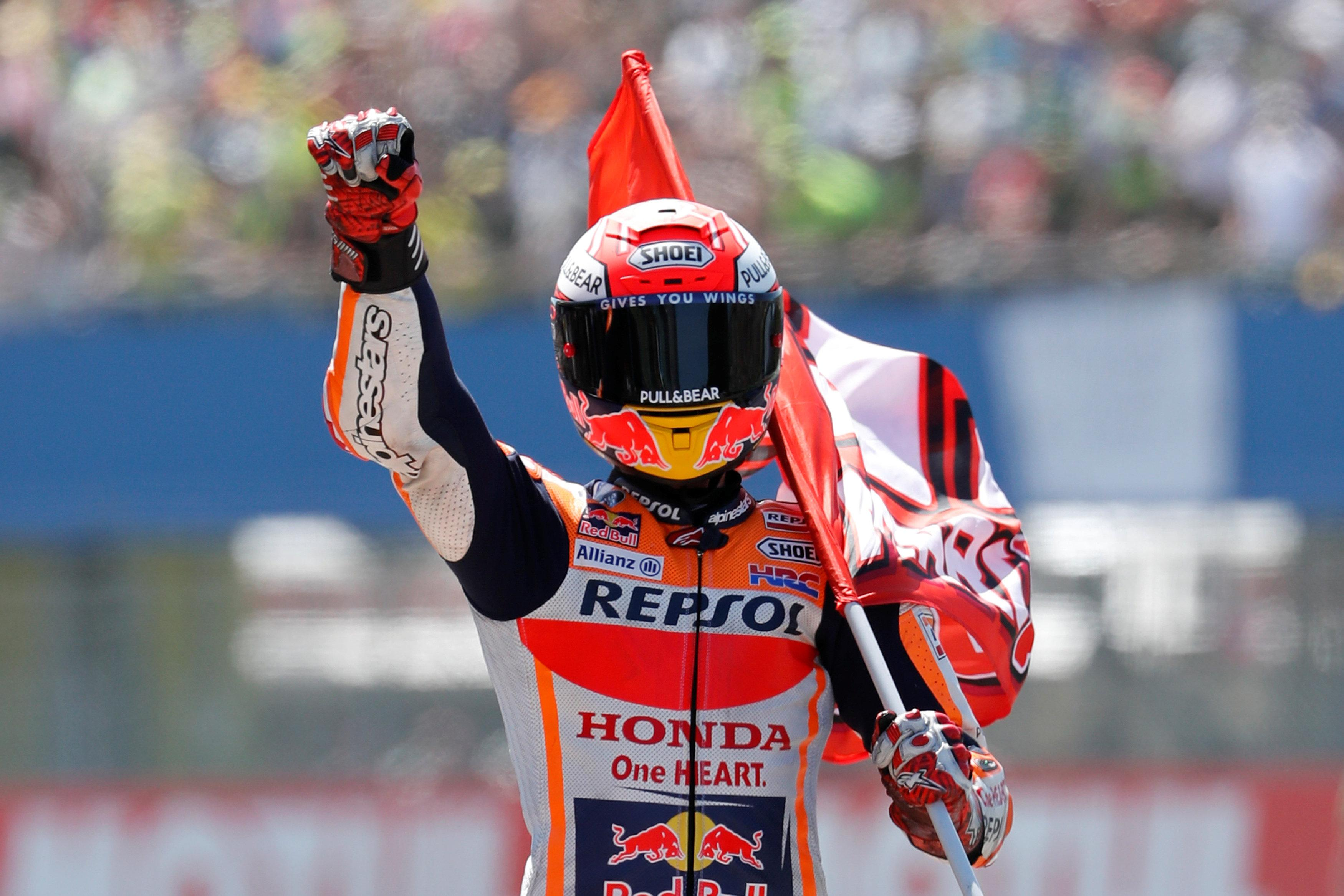 Marc Marquez reacts to his victory in Assen