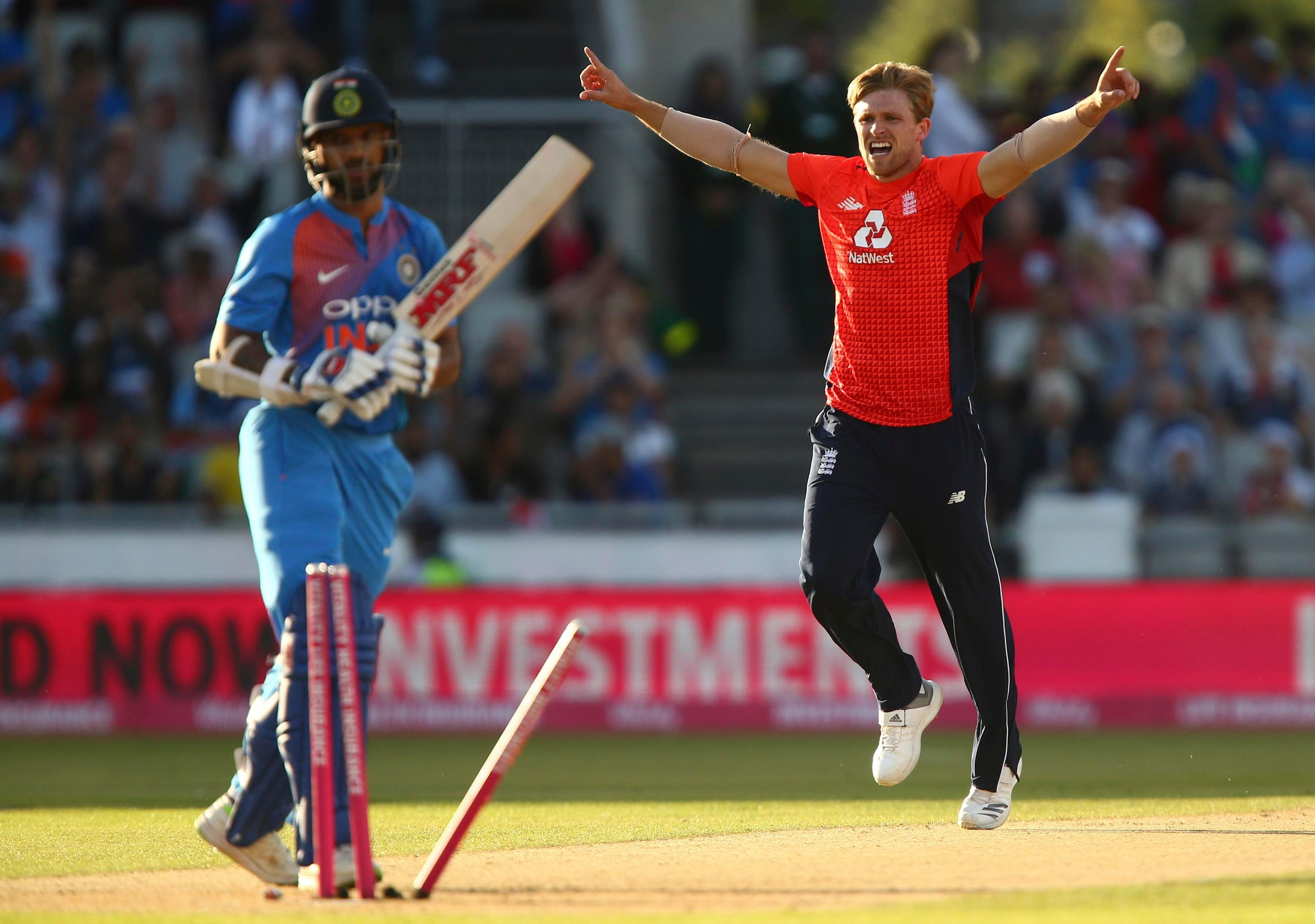 David Willey gave England the perfect start with the ball by dismissing Shikhar Dhawan