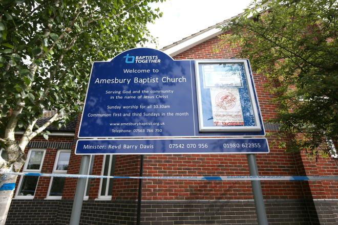 Amesbury Baptist Centre is one of a number of locations cordoned off as tests continue to establish what the couple may have been exposed to and where they have visited recently