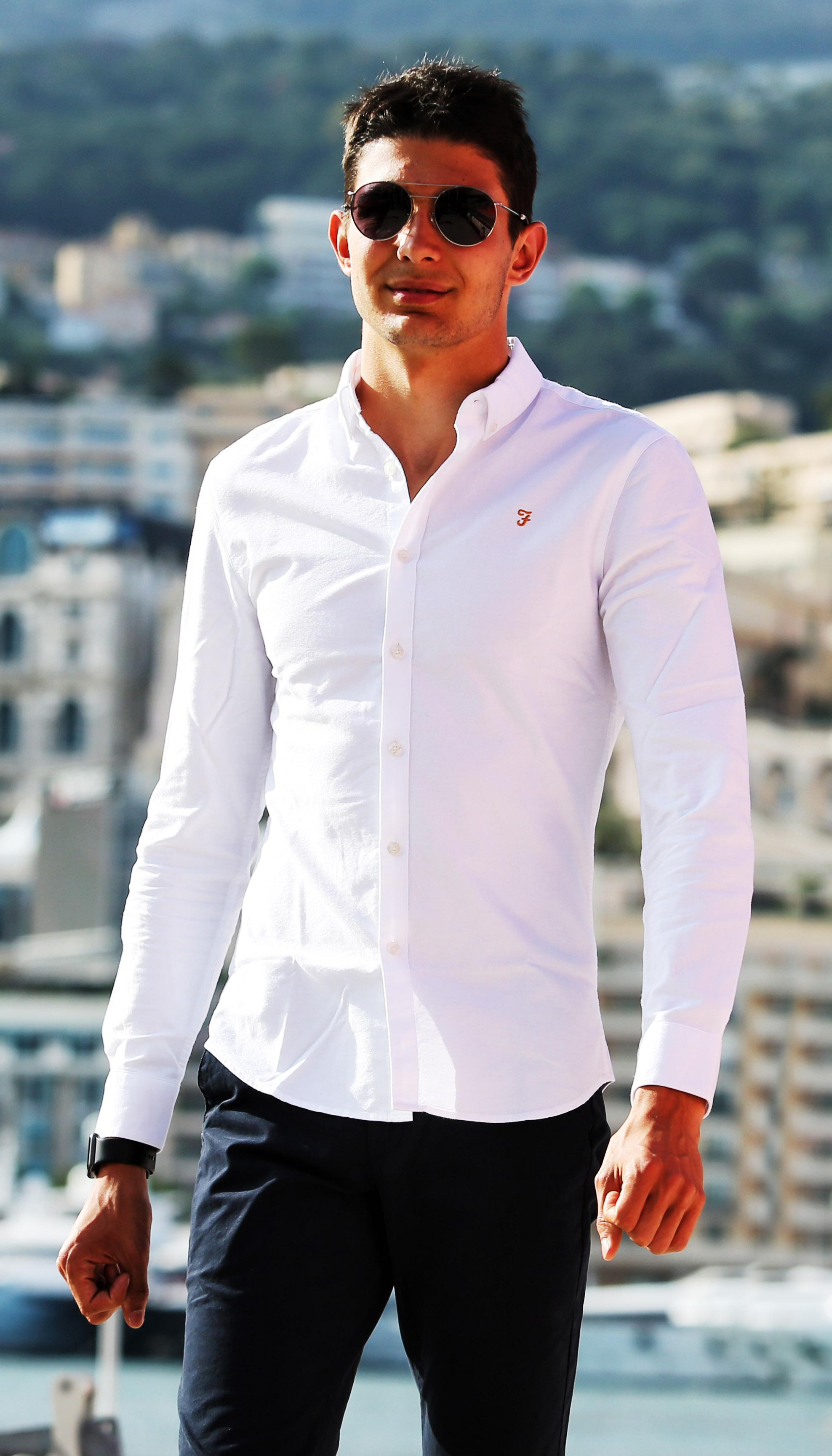 Esteban Ocon donning Farah Menswear while at the Monaco GP
