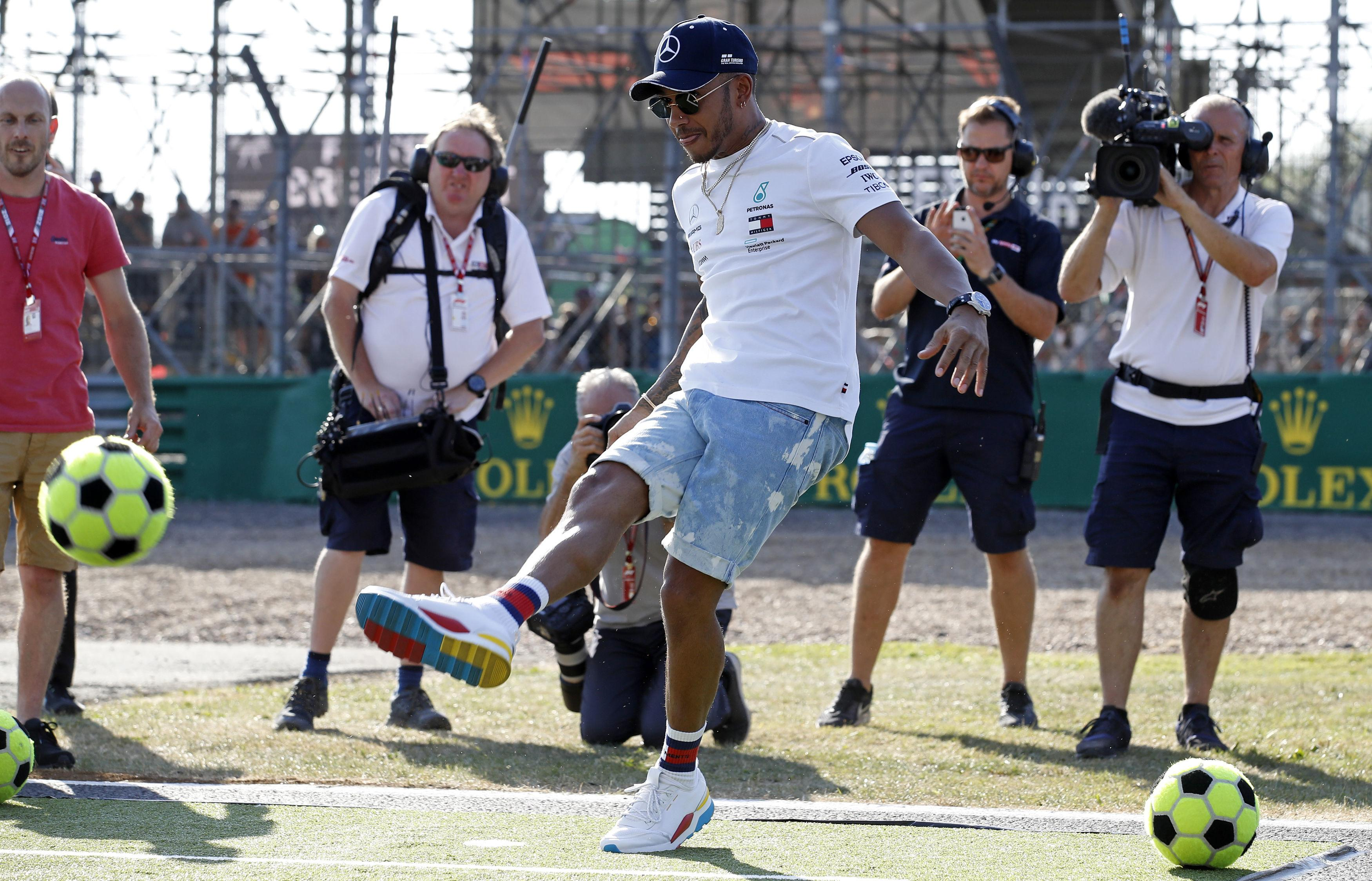 Lewis Hamilton shows off his skills today