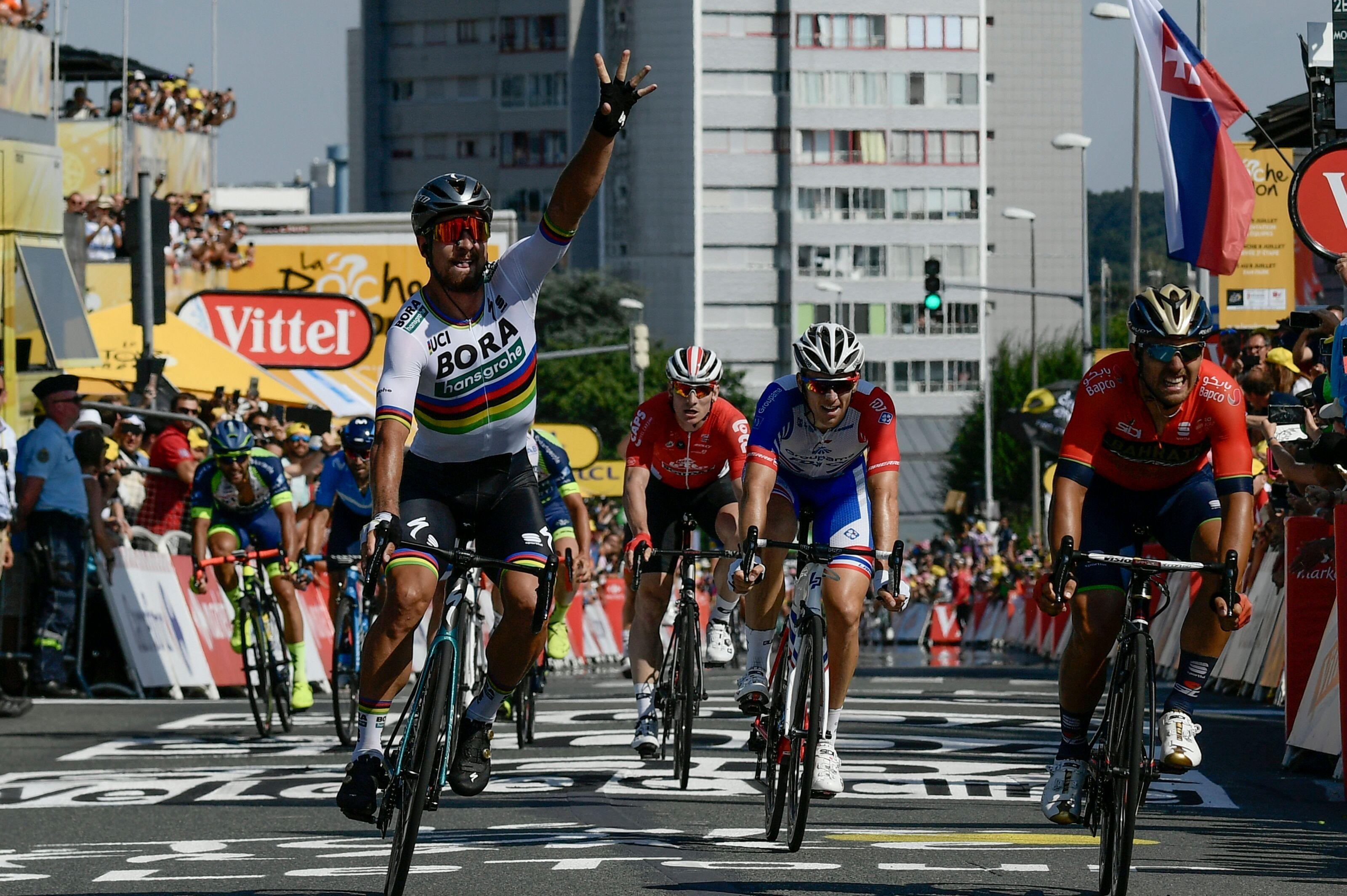Peter Sagan celebrates winning the sprint to the line in stage two of the Tour de France