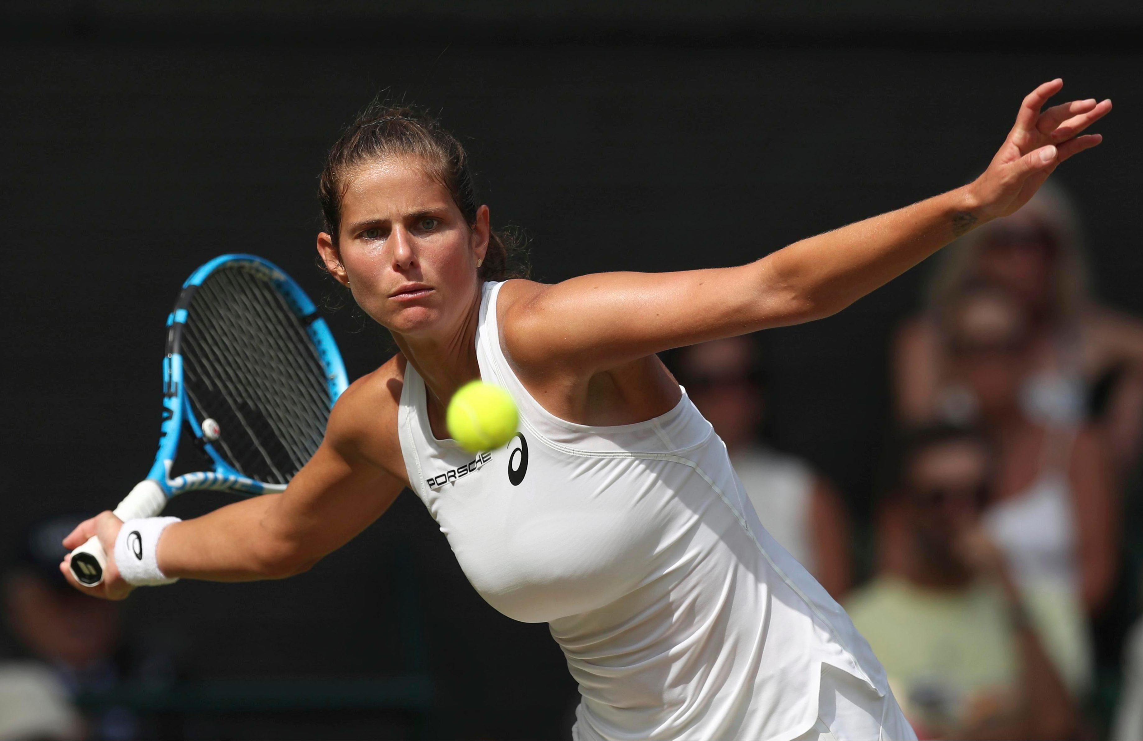 German Julia Goerges hads few answers to the power of Serena Williams on Centre Court at Wimbledon