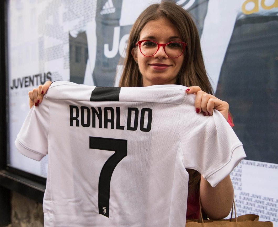 Image result for ronaldo juventus shirt girl