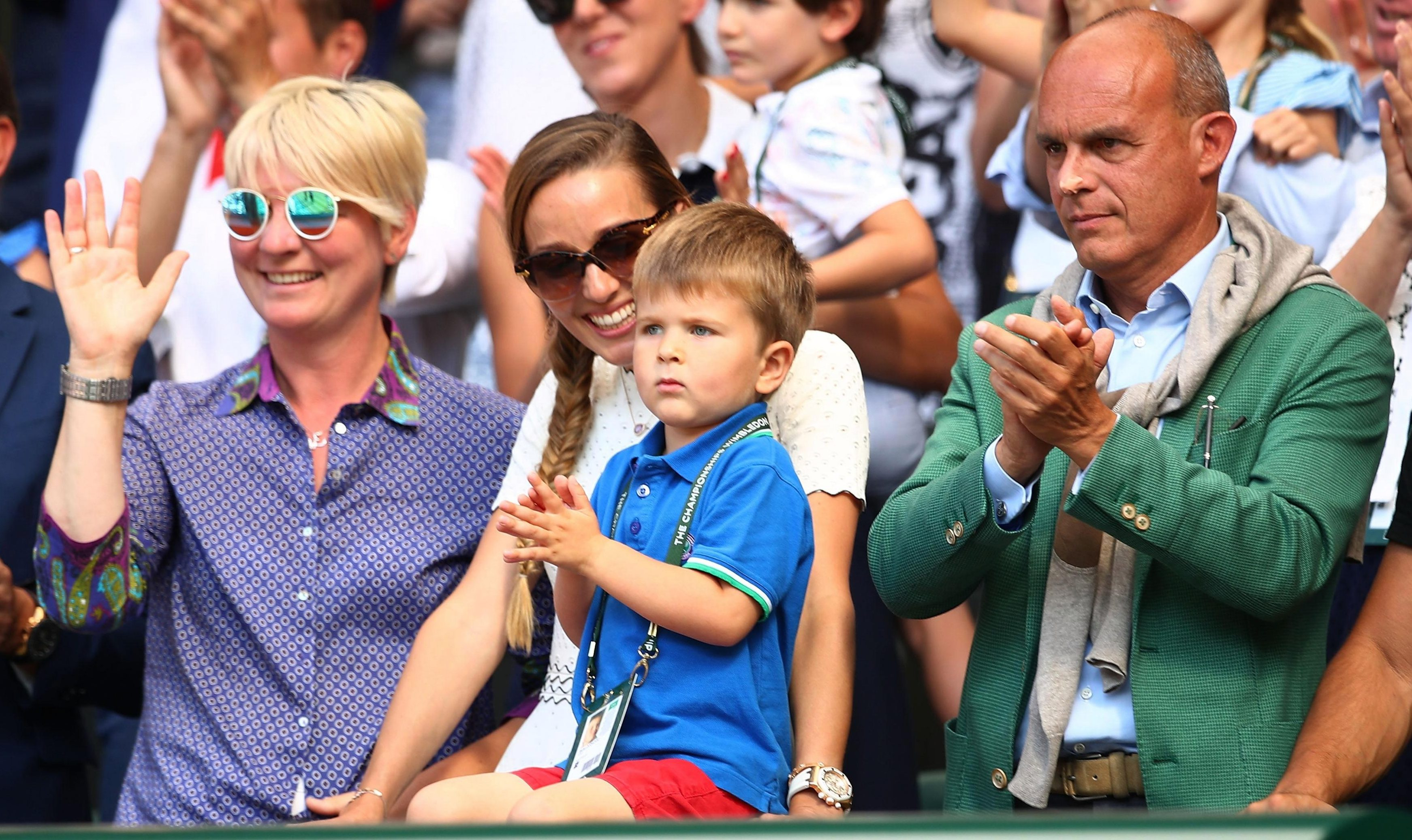 The Djokovic family including his young son cheered him on