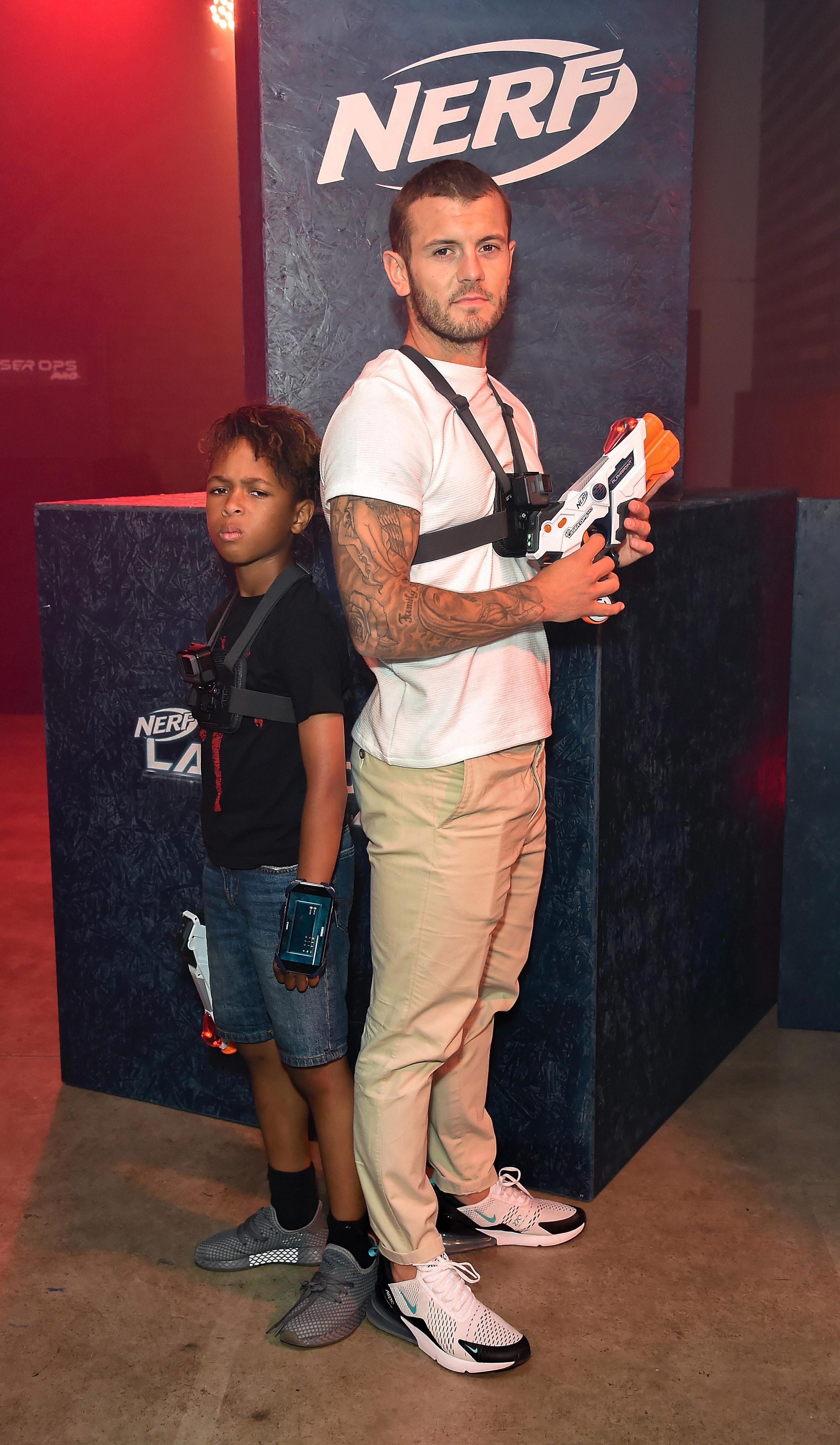 New West Ham midfielder Jack Wilshere takes on Tekkerz Kid at laser shooting and is clearly fired up for the new season