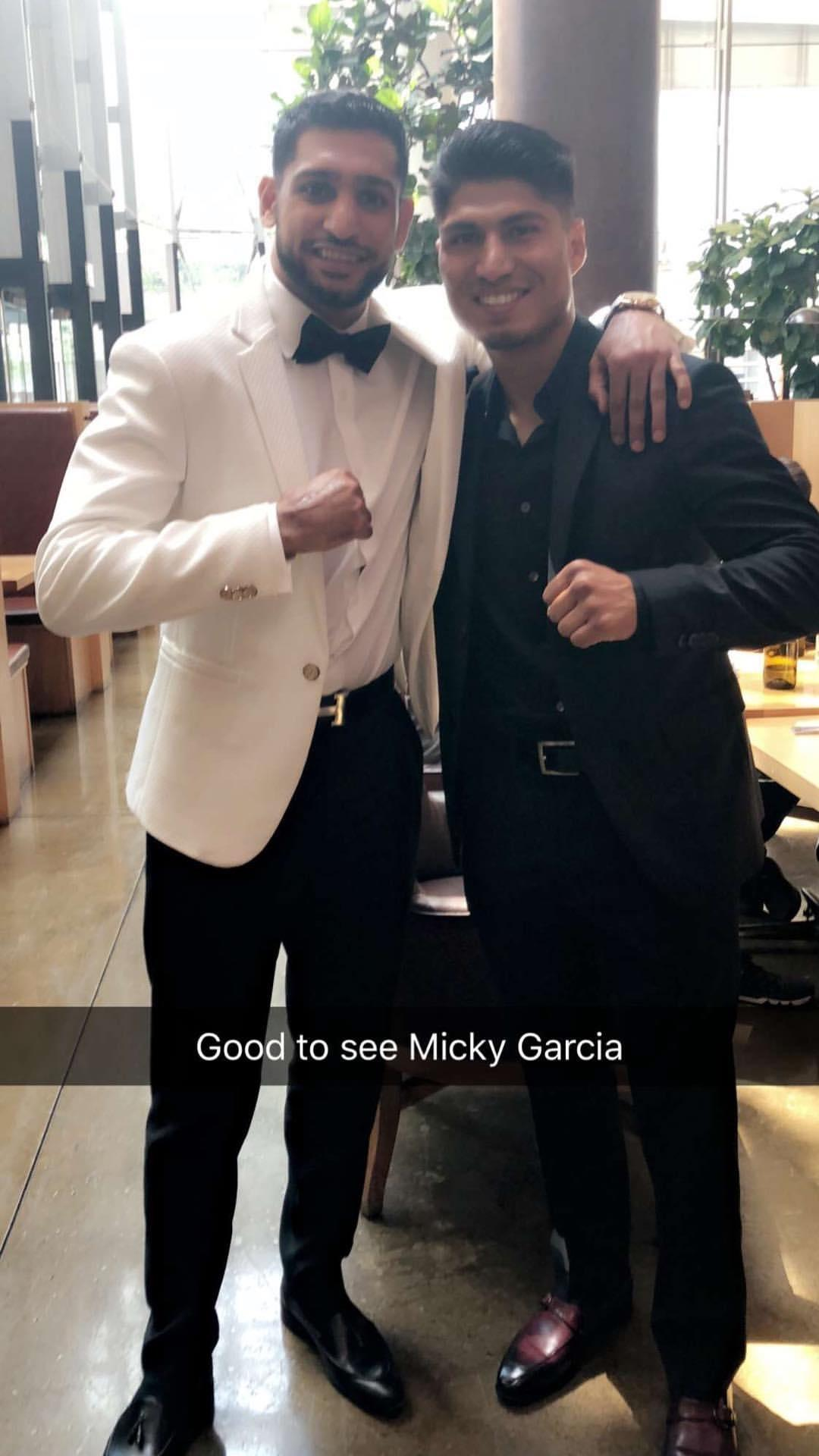 Amir Khan caught up with Mikey Garcia at the LA bash
