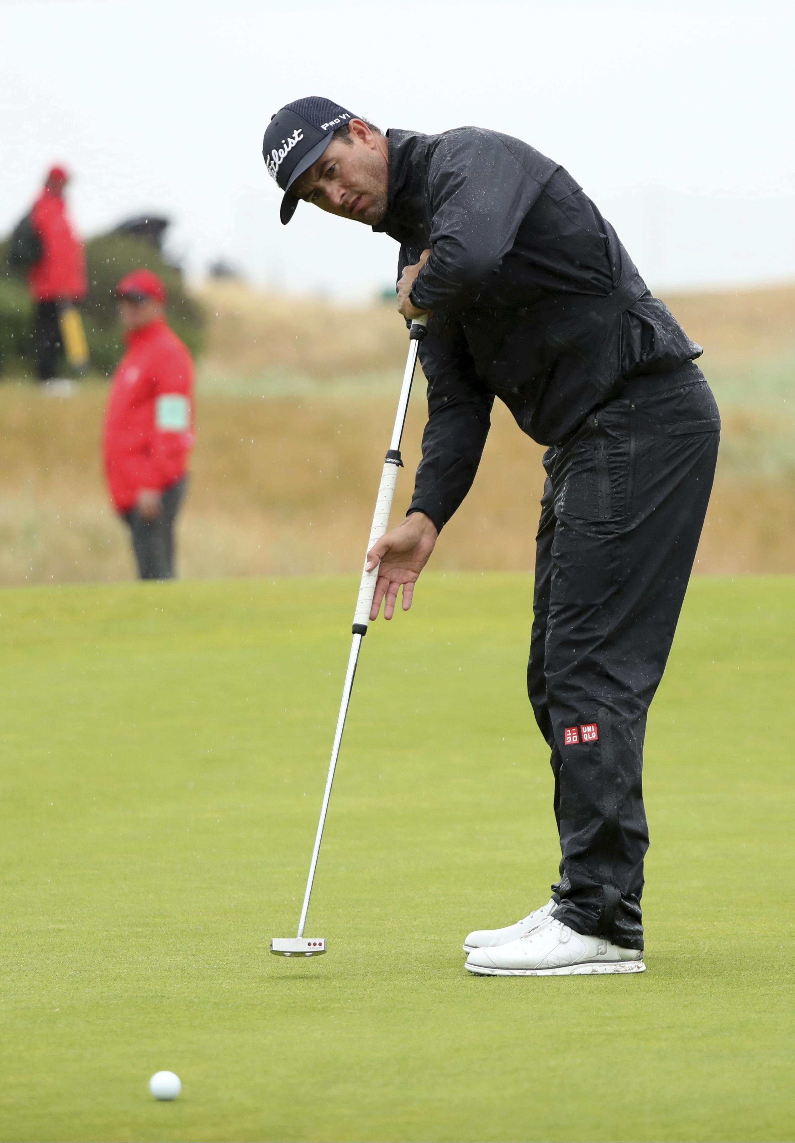 Some social media users felt Adam Scott was anchoring the putter to his body