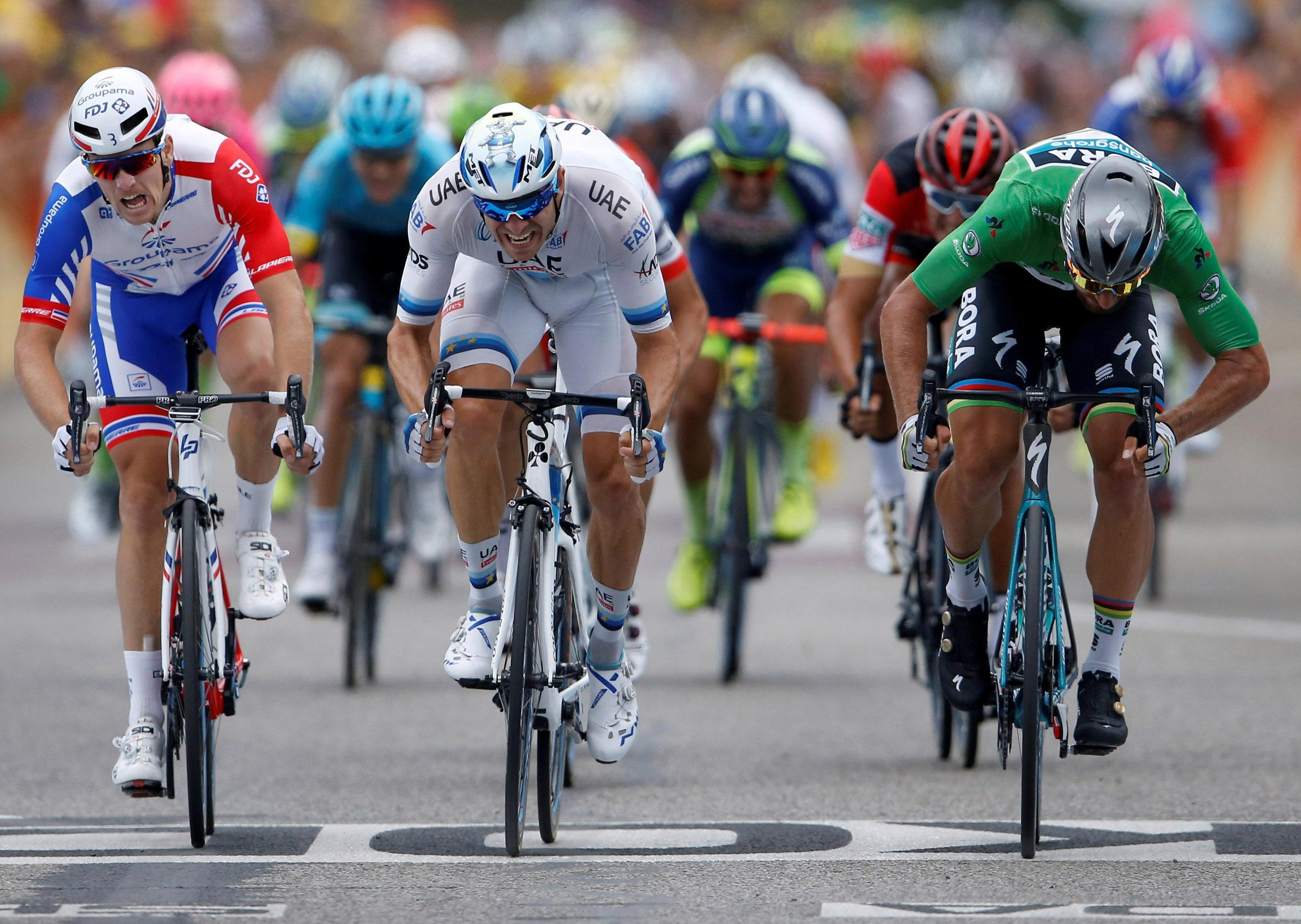 Stage 13 was won by BORA-Hansgrohe's Slovak Peter Sagan, ahead of UAE Team Emirates' Alexander Kristoff  and France's Groupama-FDJ ace Arnaud Demare