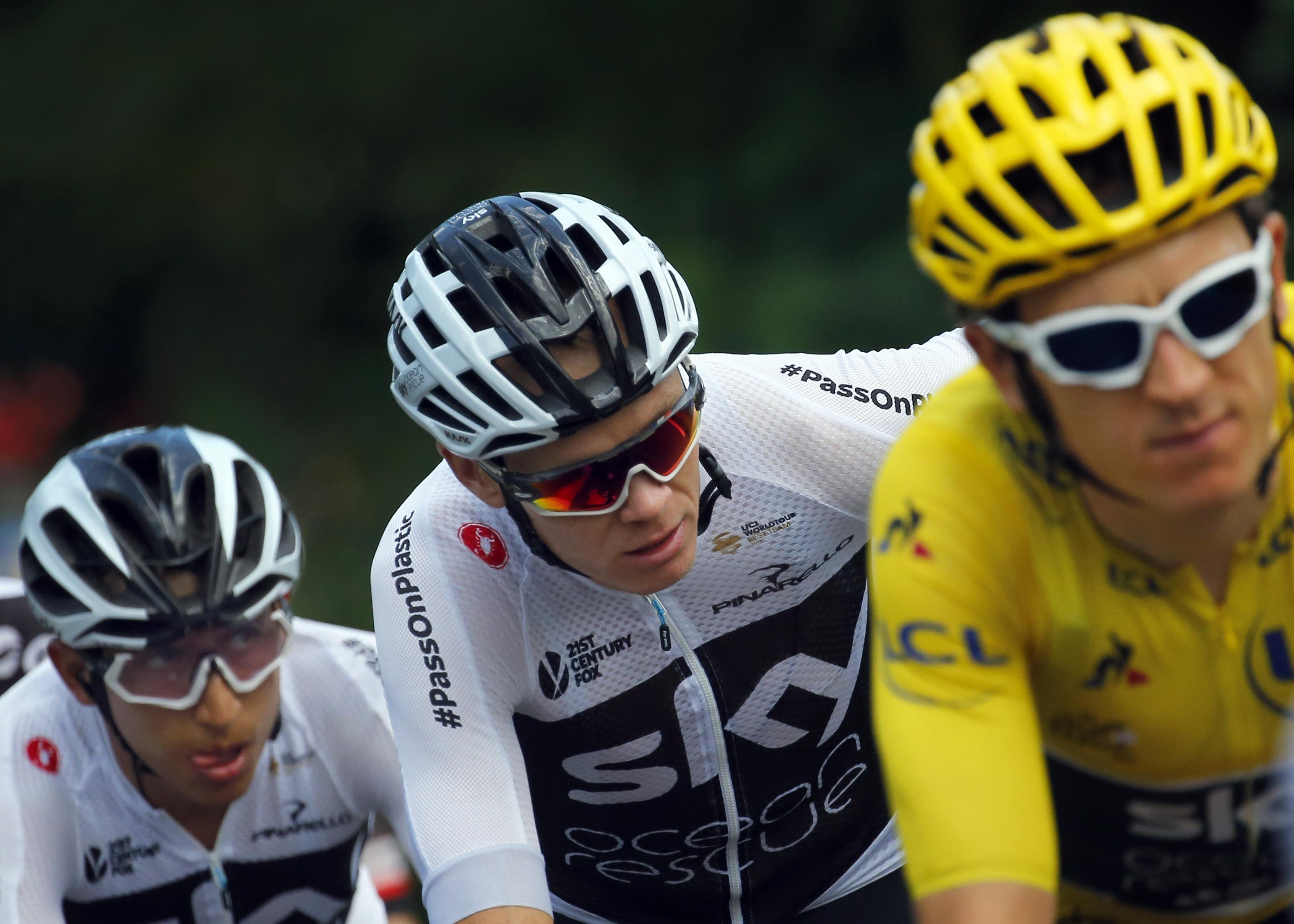 Wiggins even admitted he had sympathy for former team-mate Froome, centre, after his inhaler scandal
