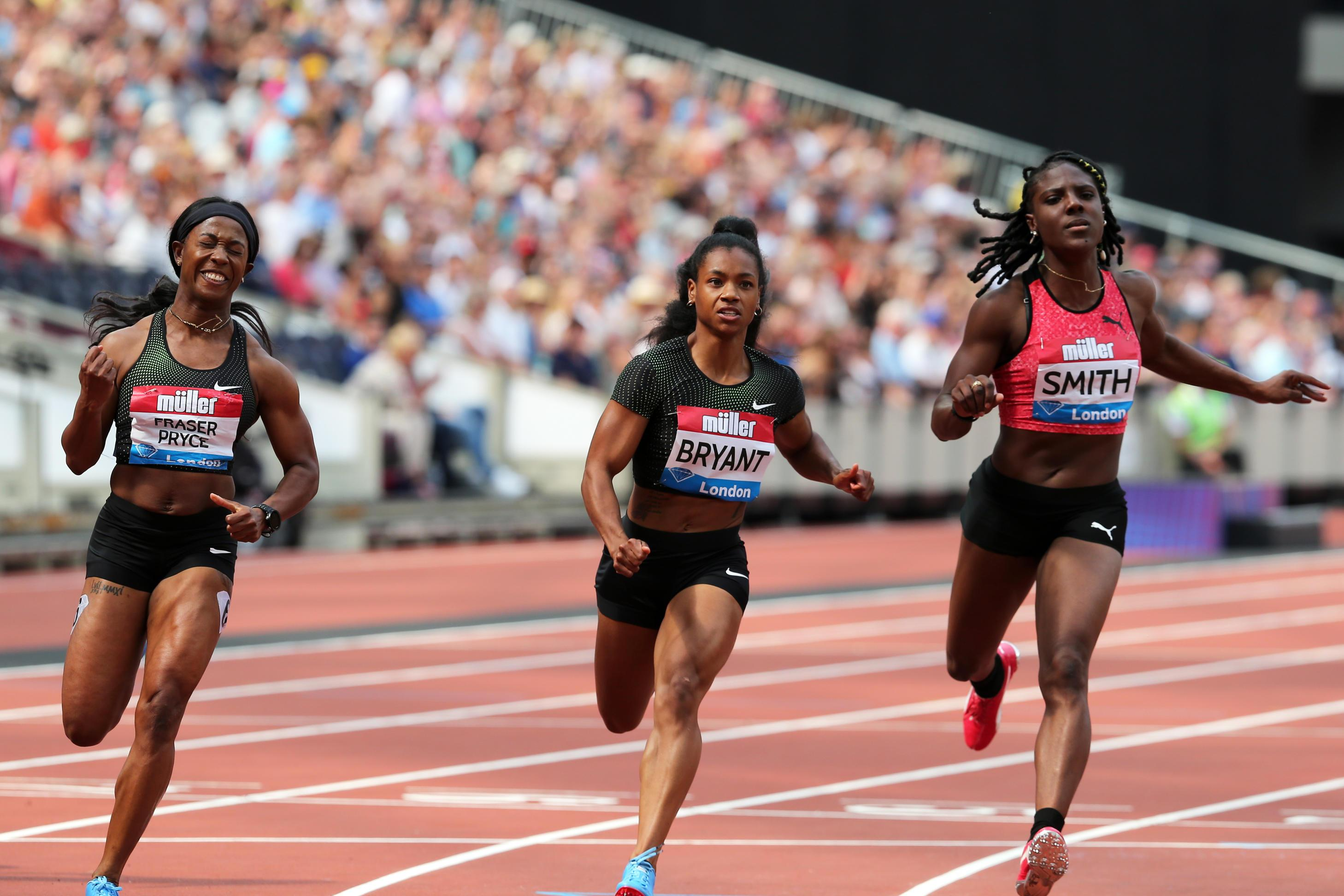 Jamaican Shelly-Ann Fraser-Pryce, left, won the women's 100 metres after coming back to the sport following the birth of her child