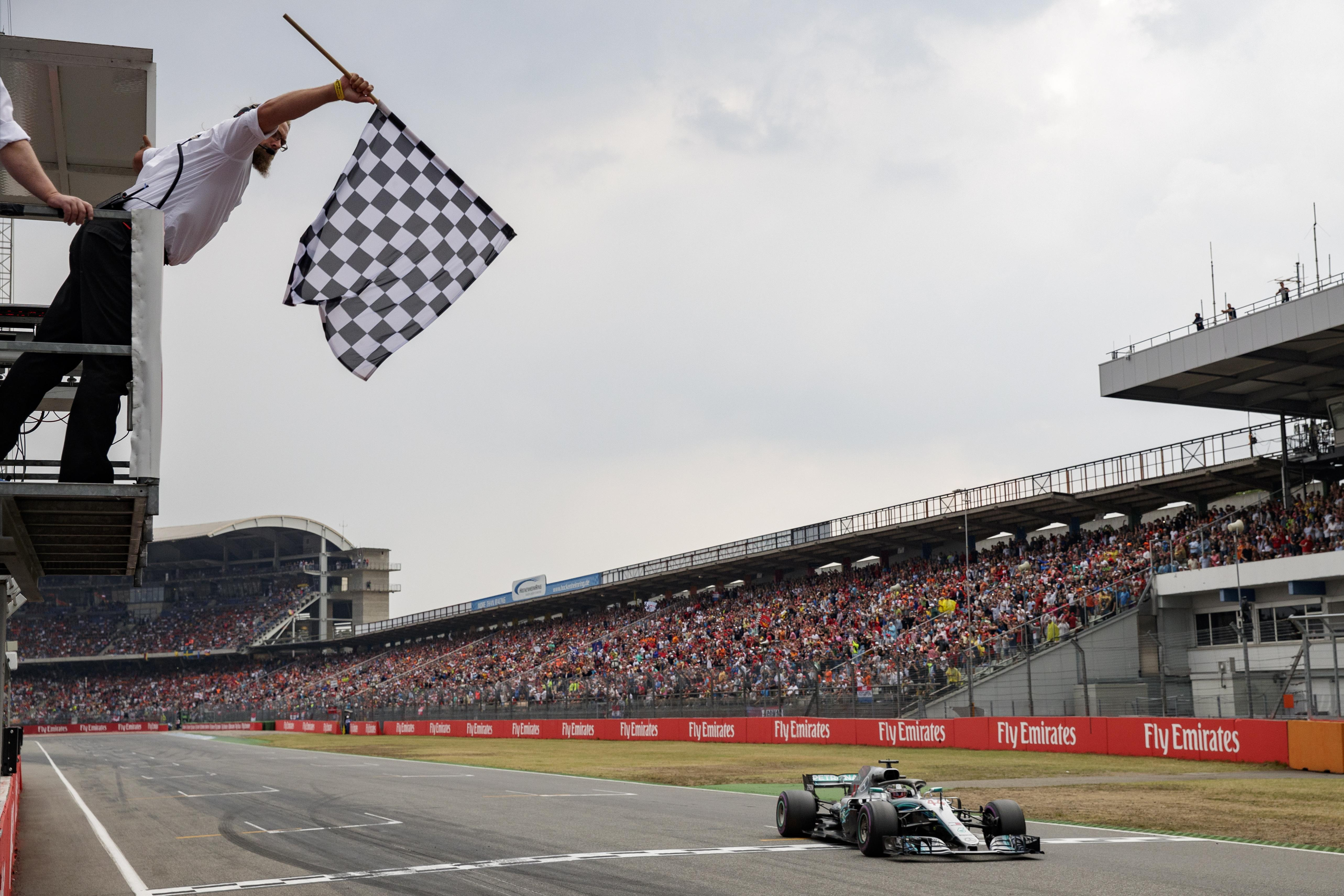 Hamilton crossed the line in first, having started the day in 14th