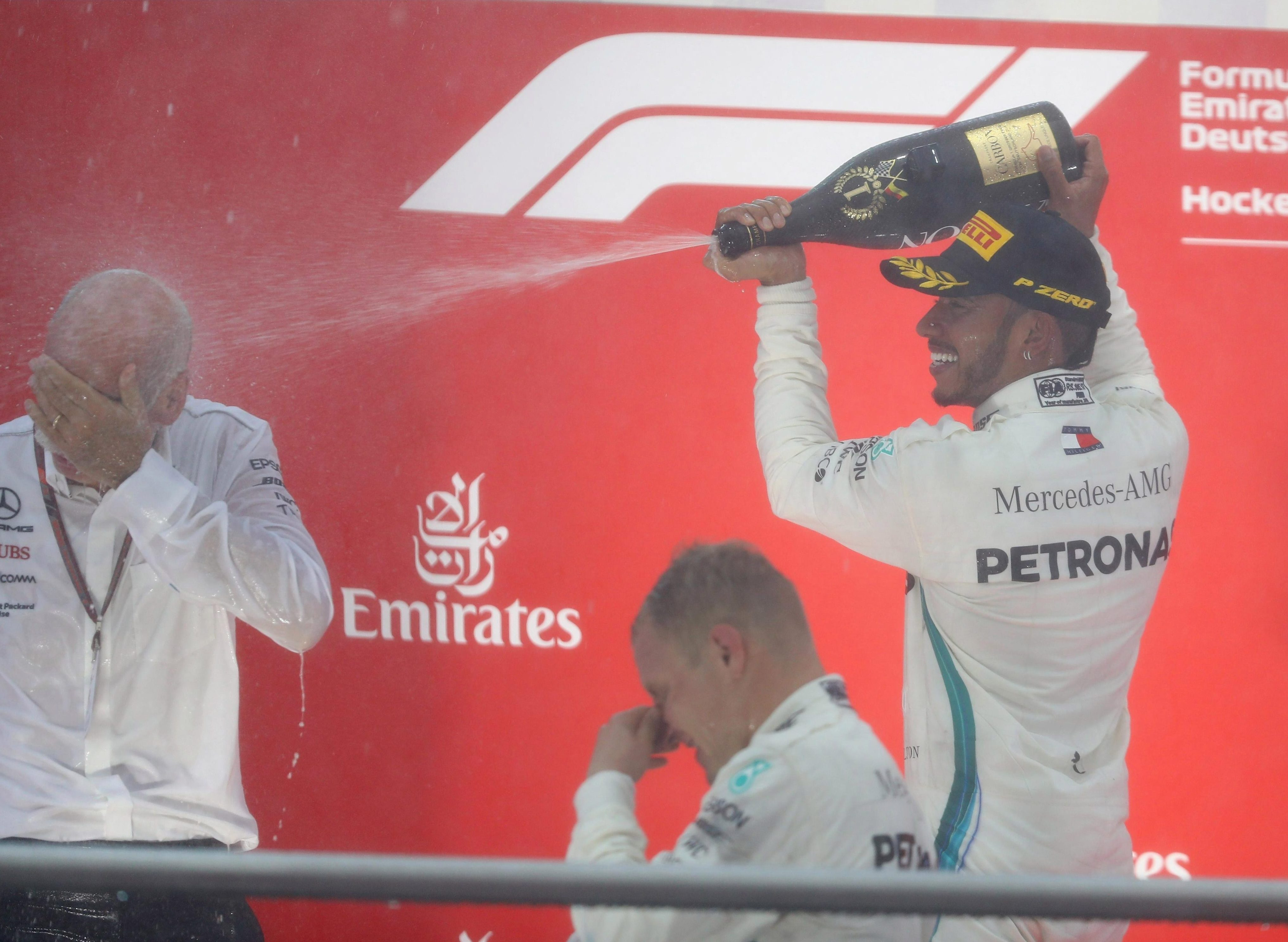 Hamilton celebrated his fourth win on German tarmac in style