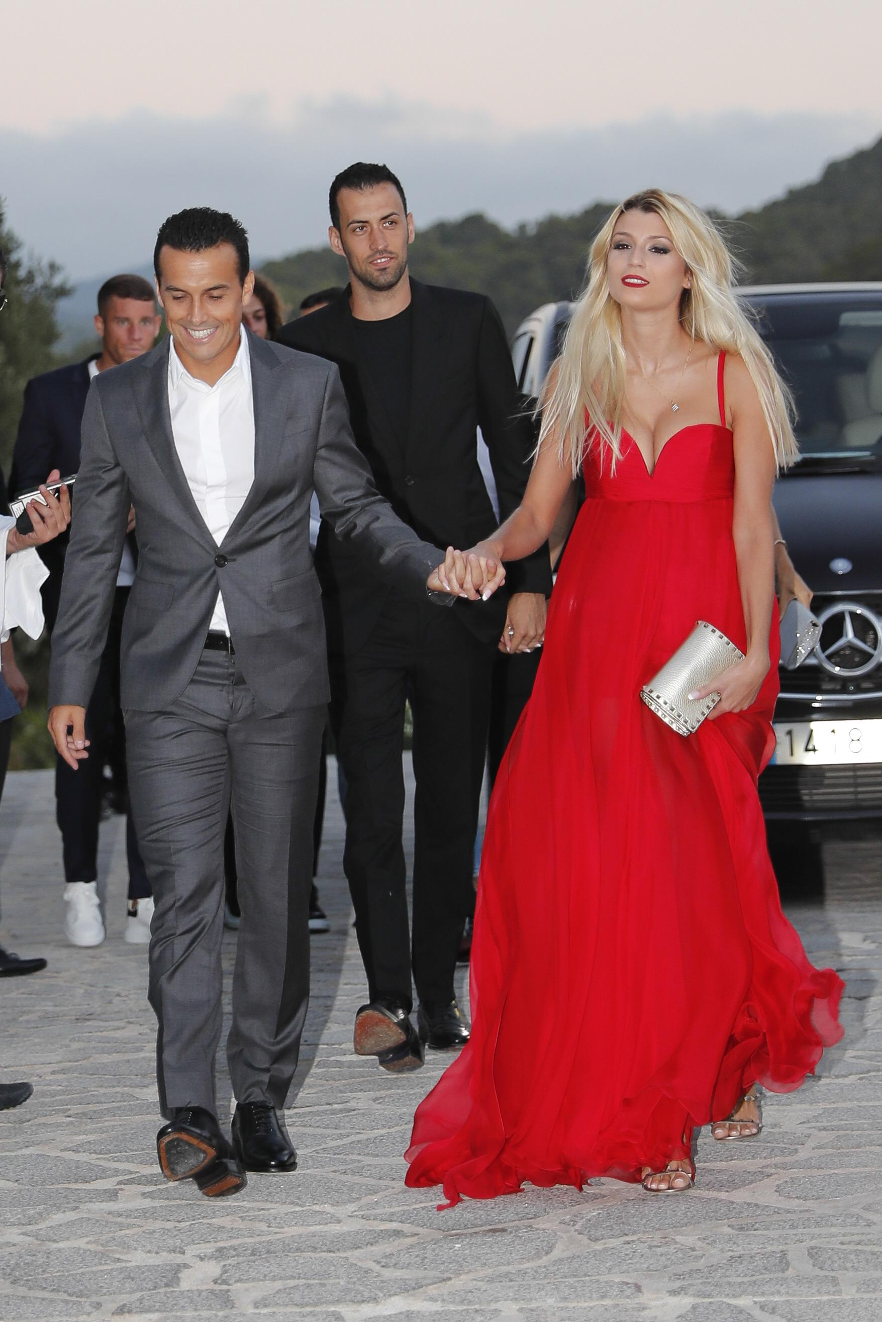 Pedro and his partner look in good spirits as they arrive at the Ibiza party