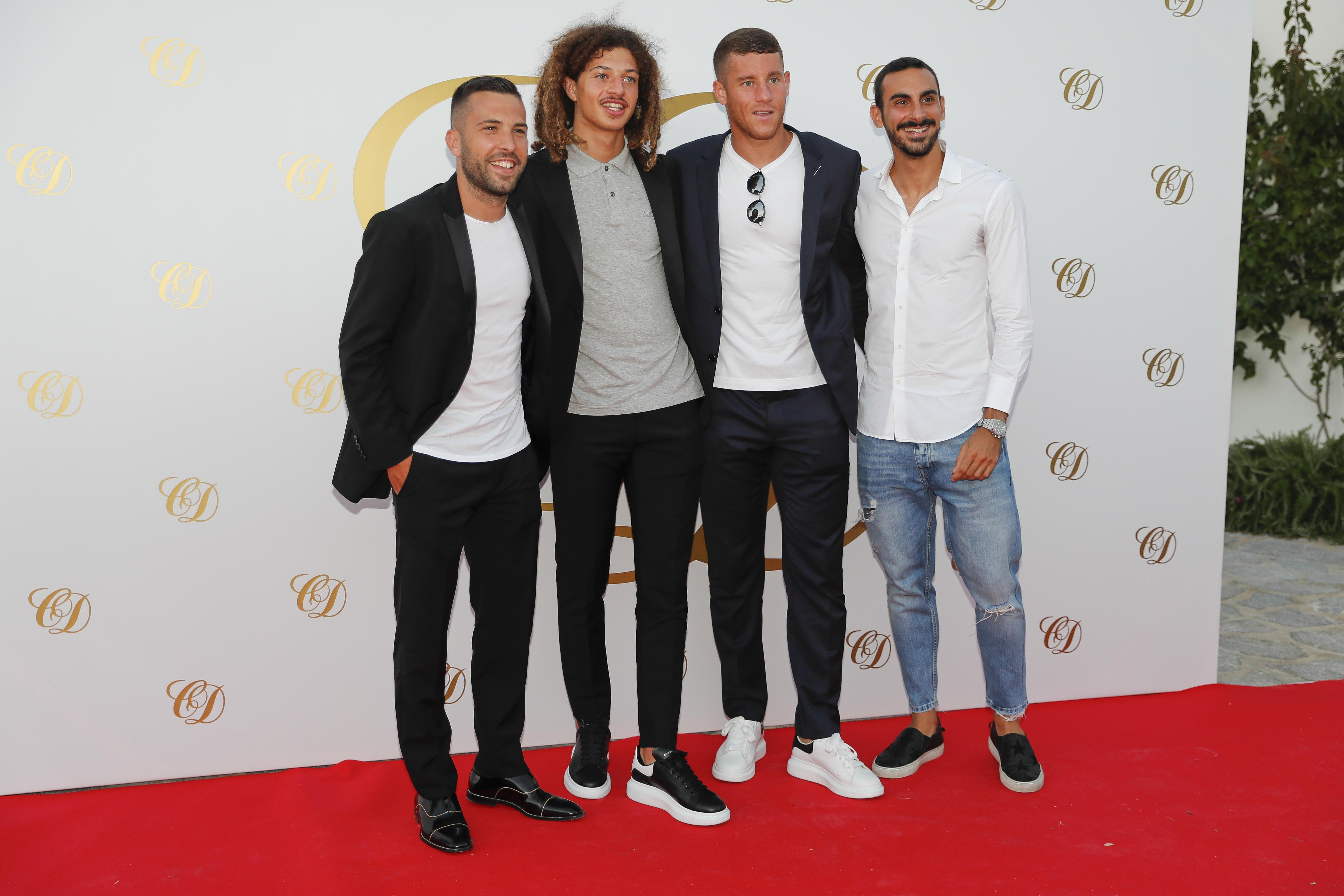 Barcelona star Jordi Alba and Chelsea players Ethan Ampadu, Ross Barkley and Davide Zappacosta pose for a picture at the Ibiza bash