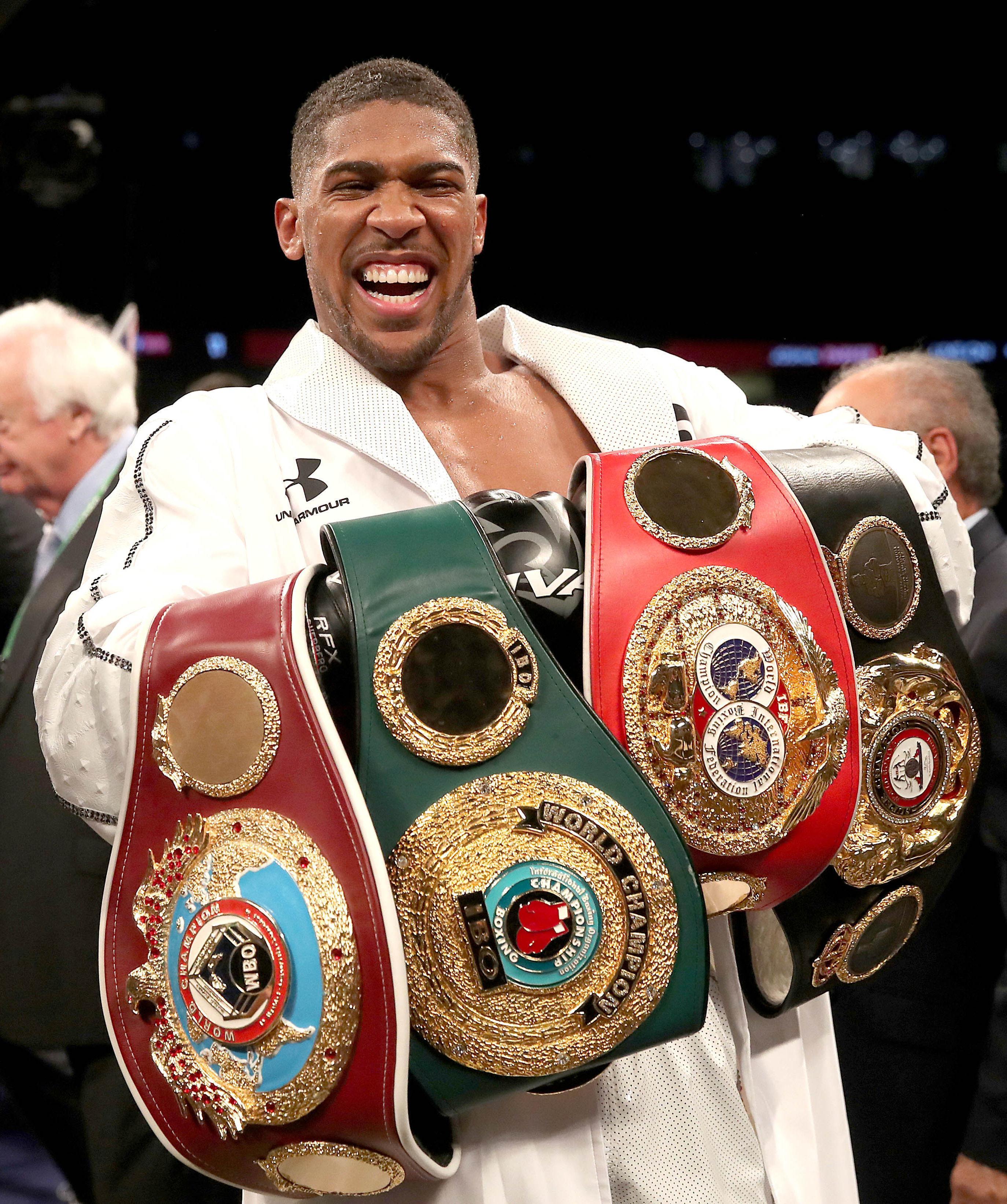 Joshua holds the WBA, WBO, IBF and IBO world titles