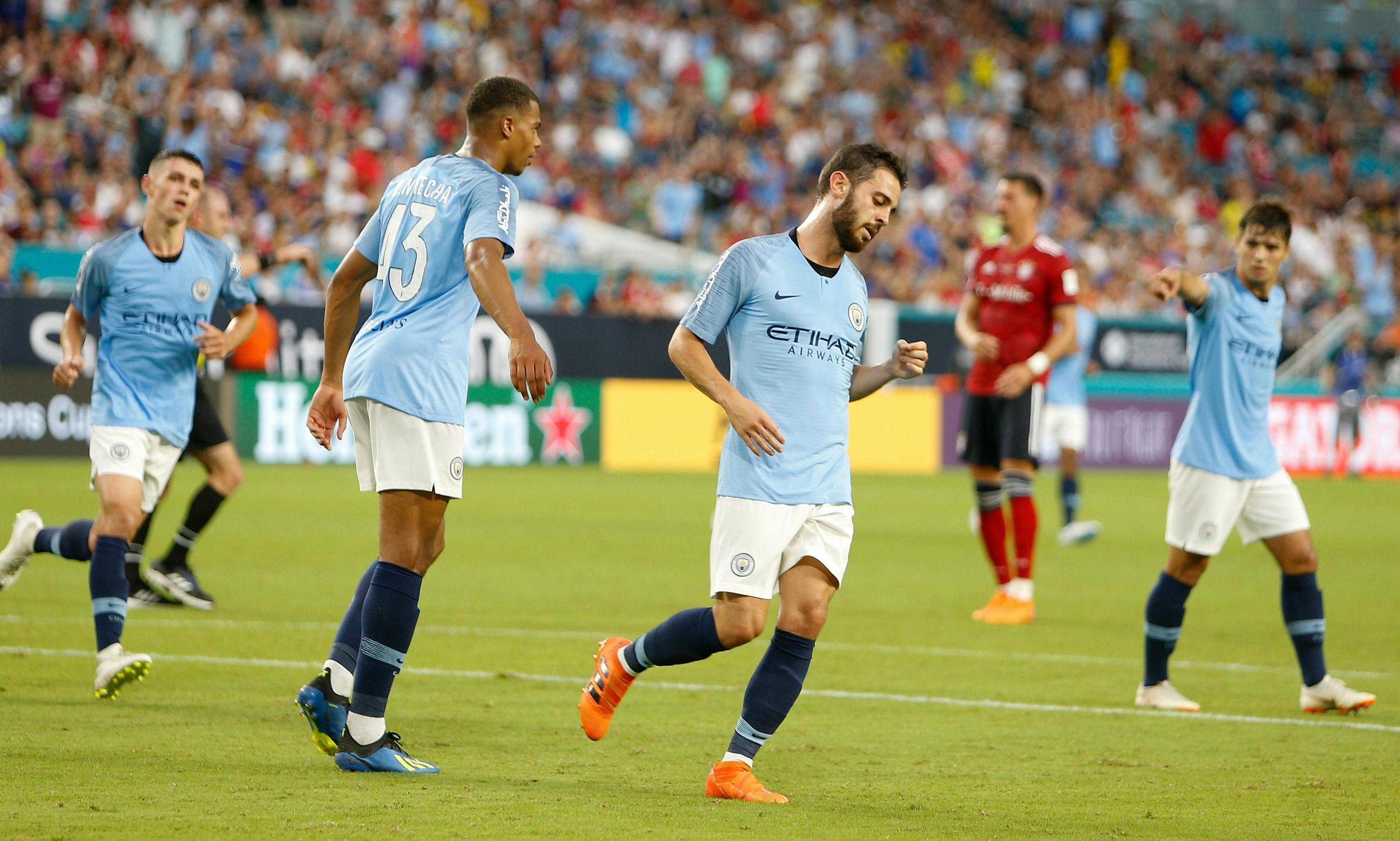 Bernardo Silva scored twice to lead a strong comeback from Manchester City in Miami