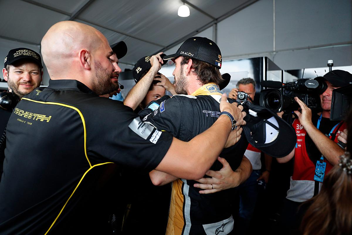 Jean-Eric Vergne celebrated with his Techeetah teammates after winning the championship