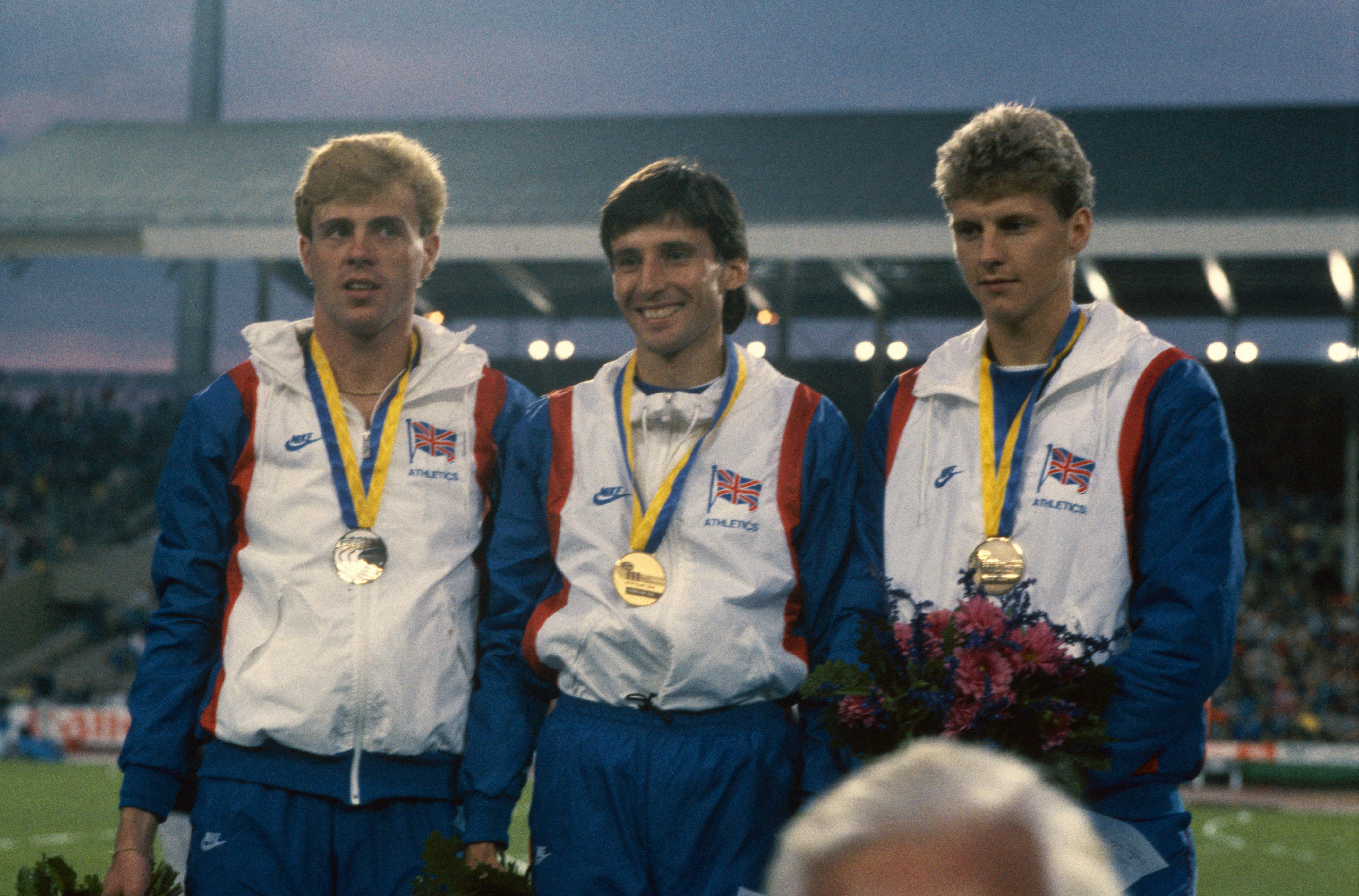 Coe, middle, and Cram, right, at the European Athletics Championships in 1986