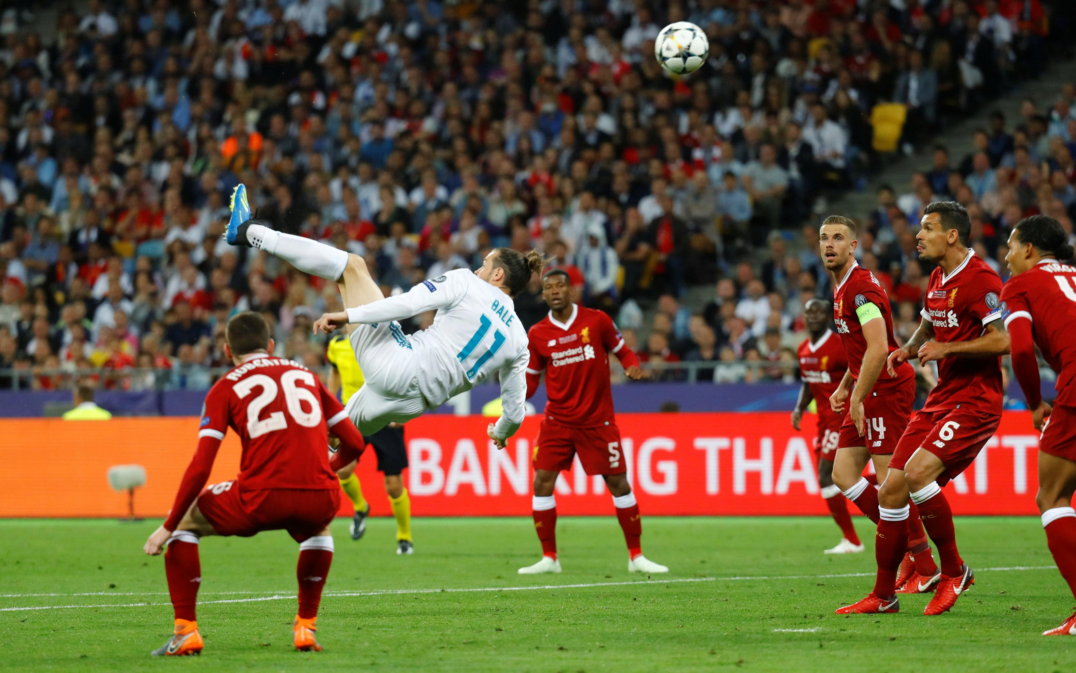 Gareth Bale put Liverpool to the sword with this stunning overhead kick to book Real's place in the Uefa Super Cup