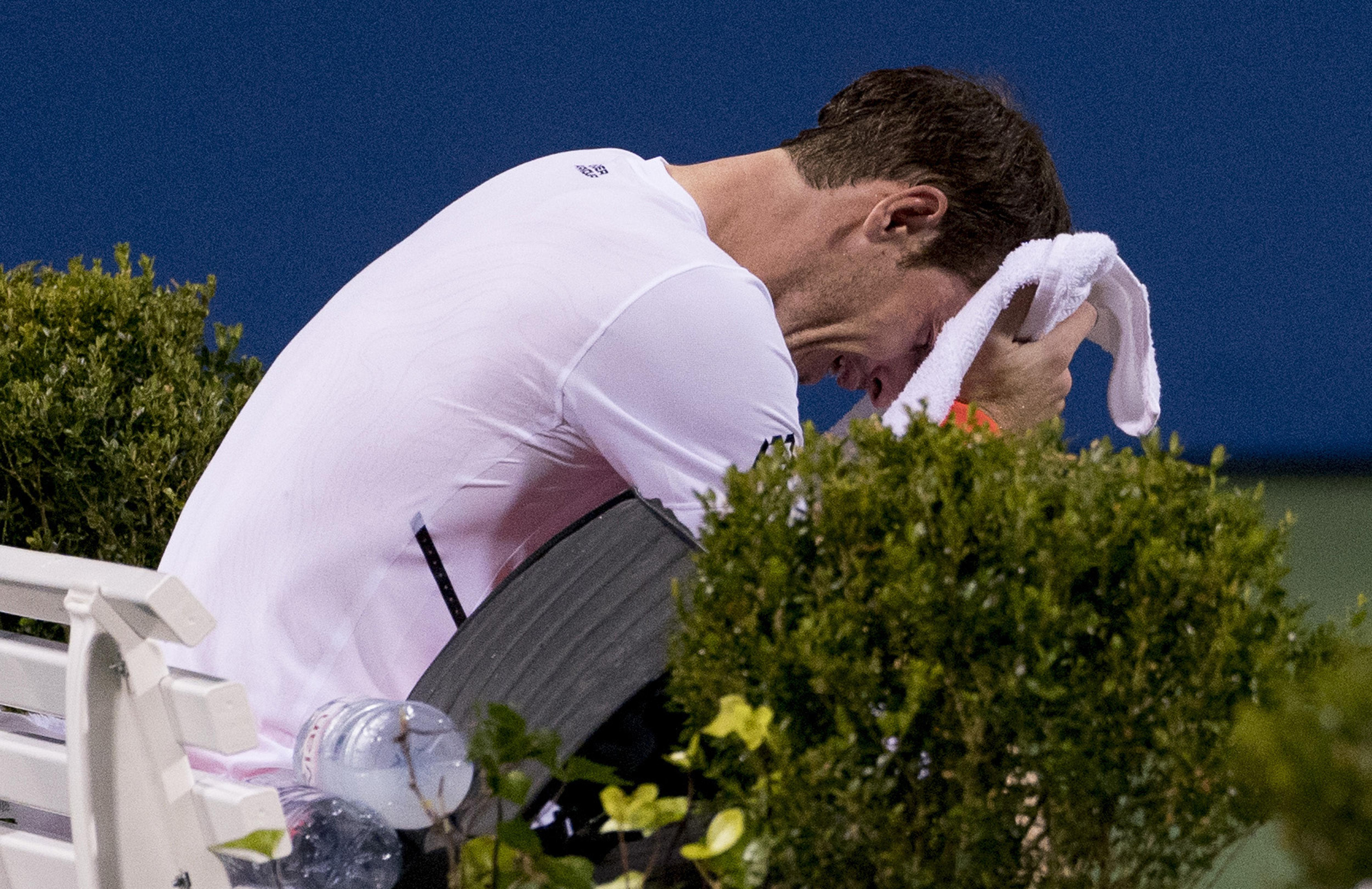 Murray breaks down at the end of his win over Romanian player Marius Copil