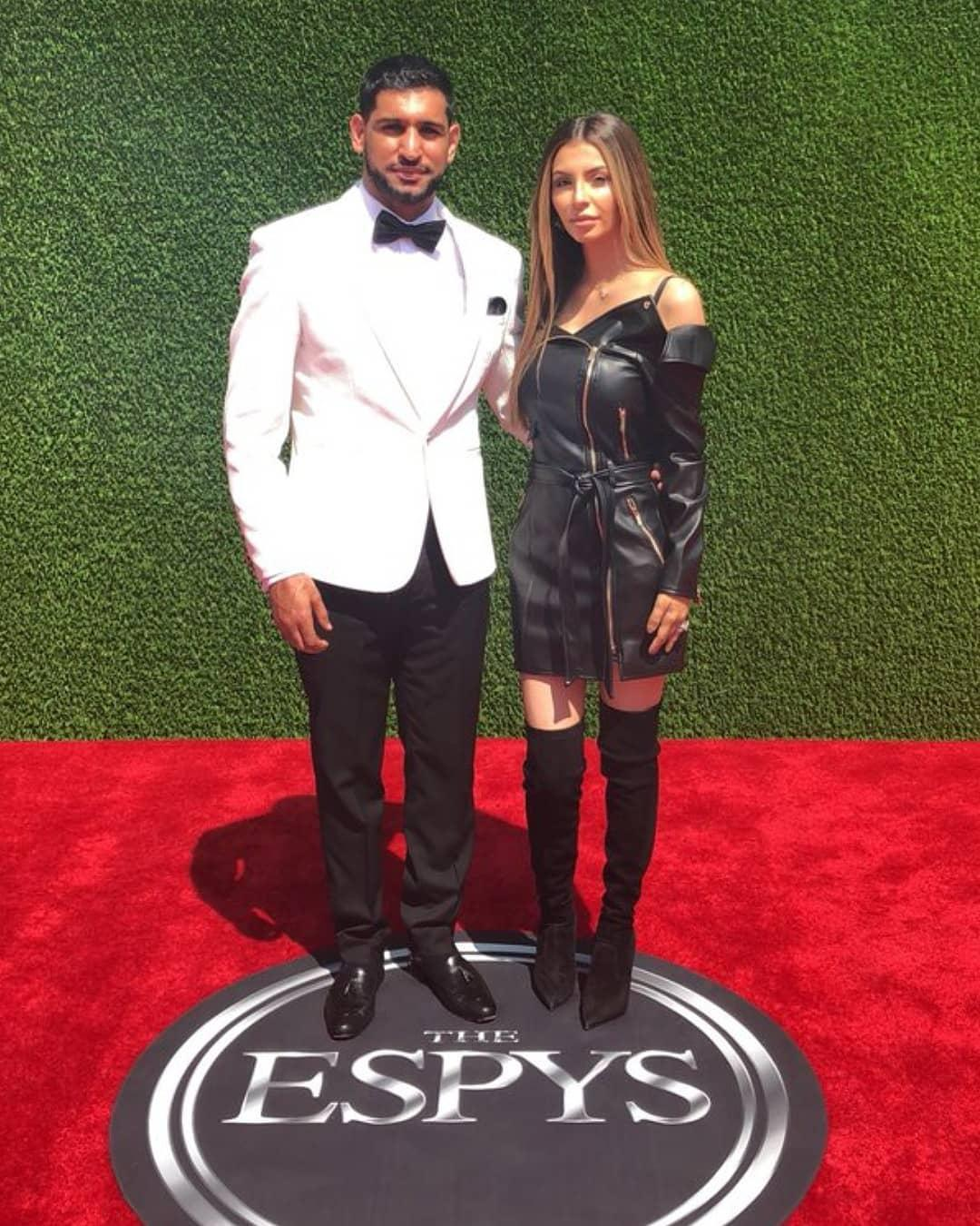 Amir Khan, pictured here with partner Faryal Makhdoom, is eyeing up a fight with Manny Pacquiao in the future