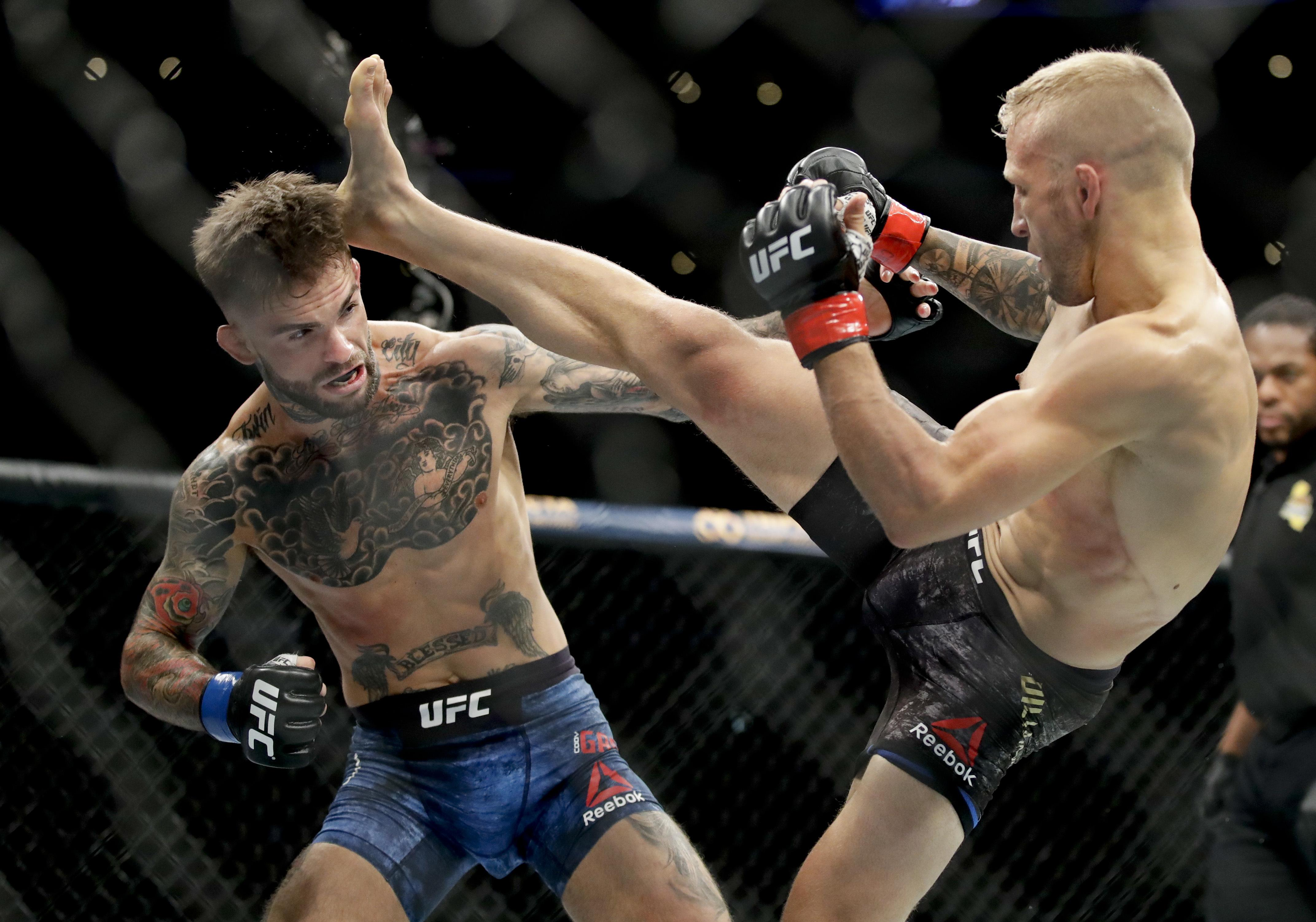 Two-time UFC champion Dillashaw needed just over four minutes to beat his former Team Alpha Male team-mate