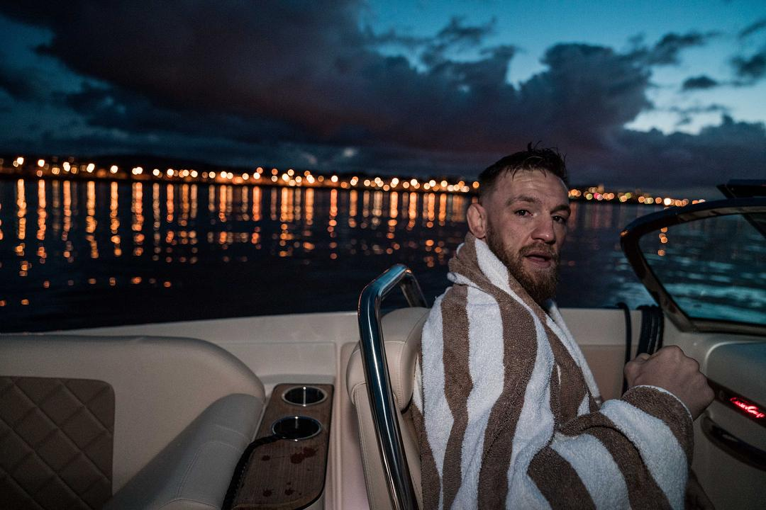 The Irish fighter warms up after his refreshing night swim