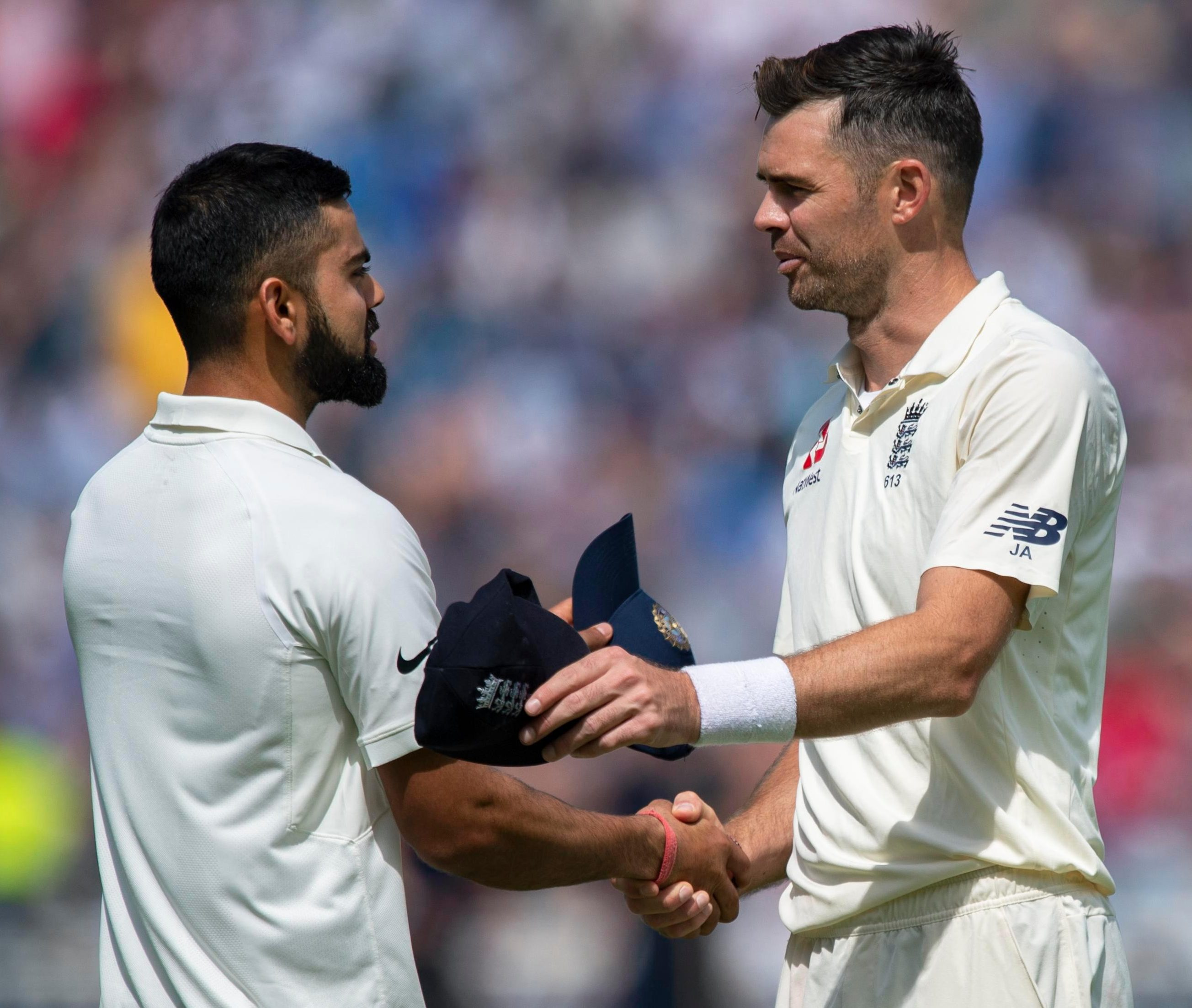 James Anderson and India captain Virat Kohli show their respect after England win a thrilling opening Test at Edgbaston