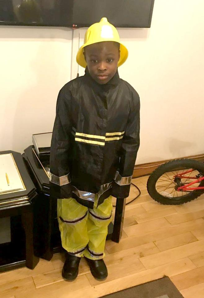 The family of Joel released this adorable photo of the schoolboy dressed as a firefighter