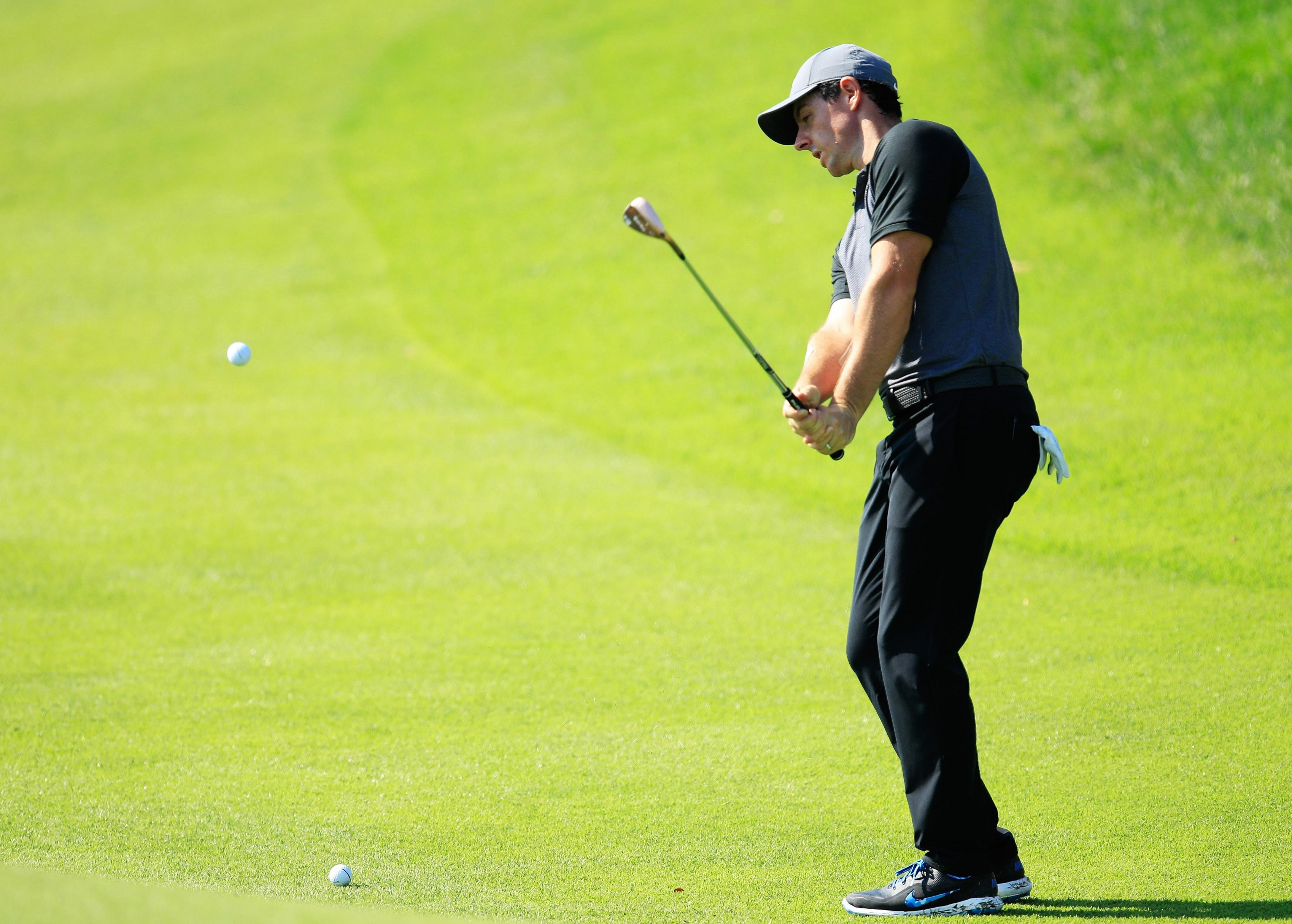 McIlroy put in plenty of time on his short game during a practice round