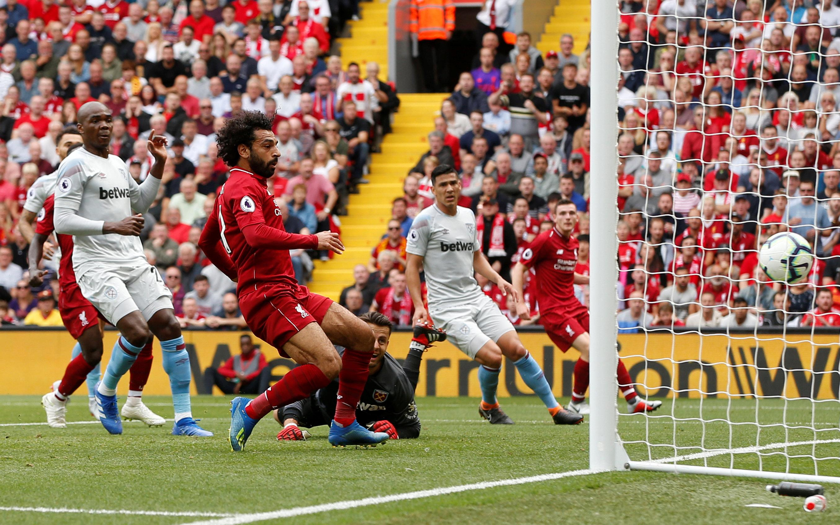 Salah tapped in the first goal of the season for Liverpool