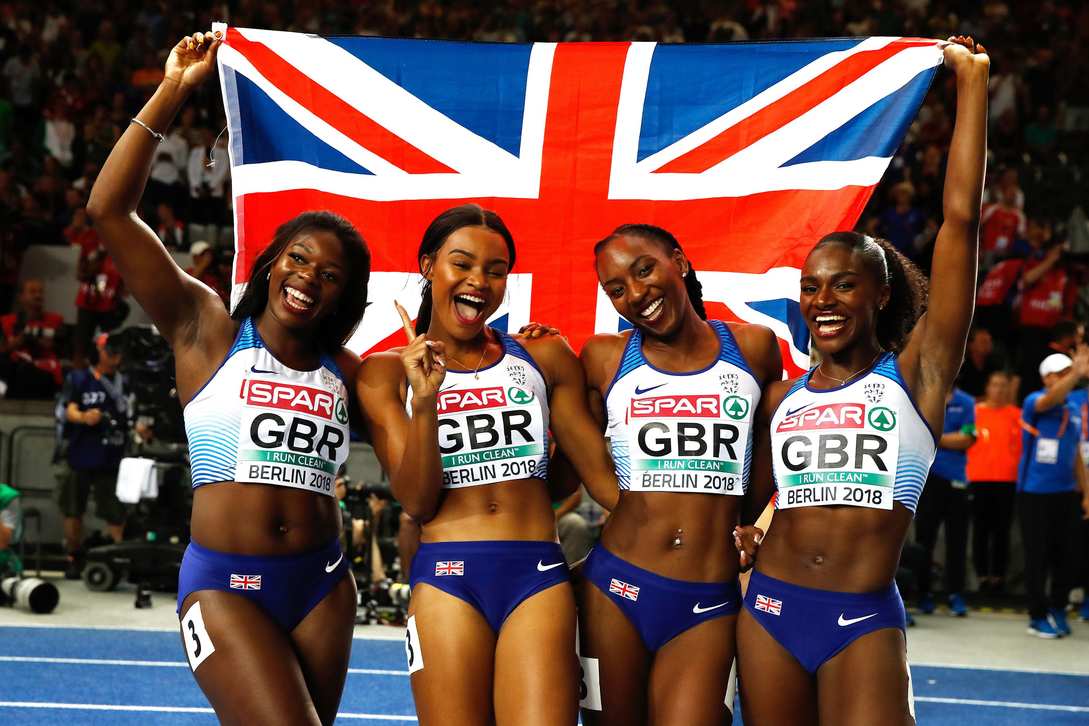 Asher-Smith, right, with her Team GB relay mates