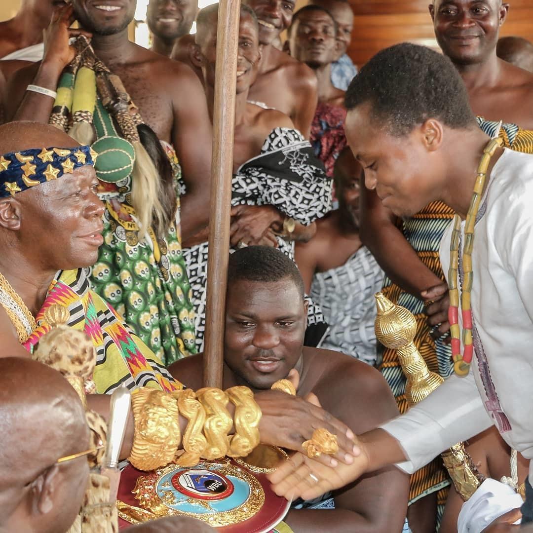Isaac Dogboe took his title to the King Otumfuo Nana Osei Tutu II, King Of The Ashanti Kingdom