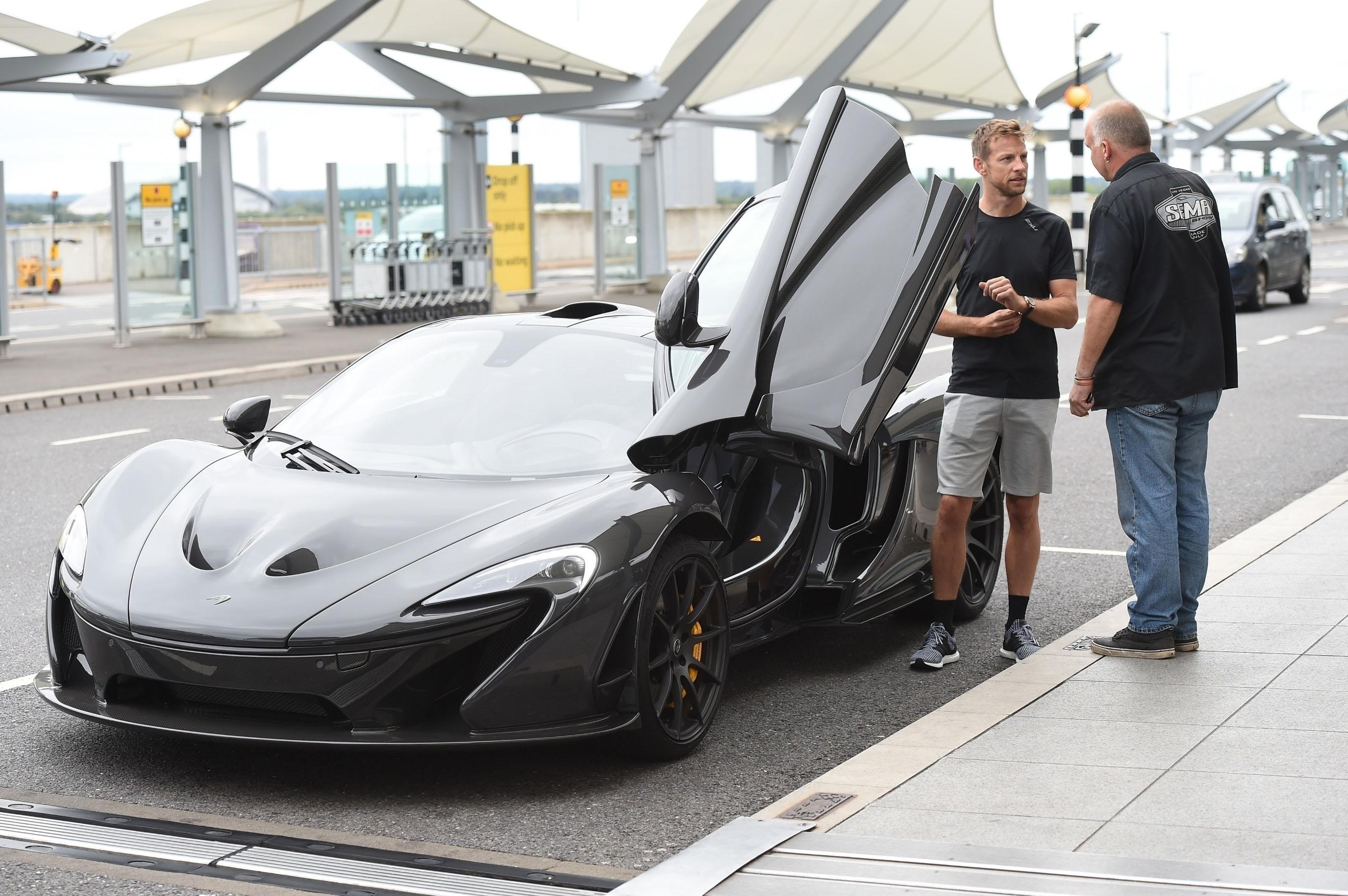 Jenson Button picks up his new McLaren at Heathrow Airport