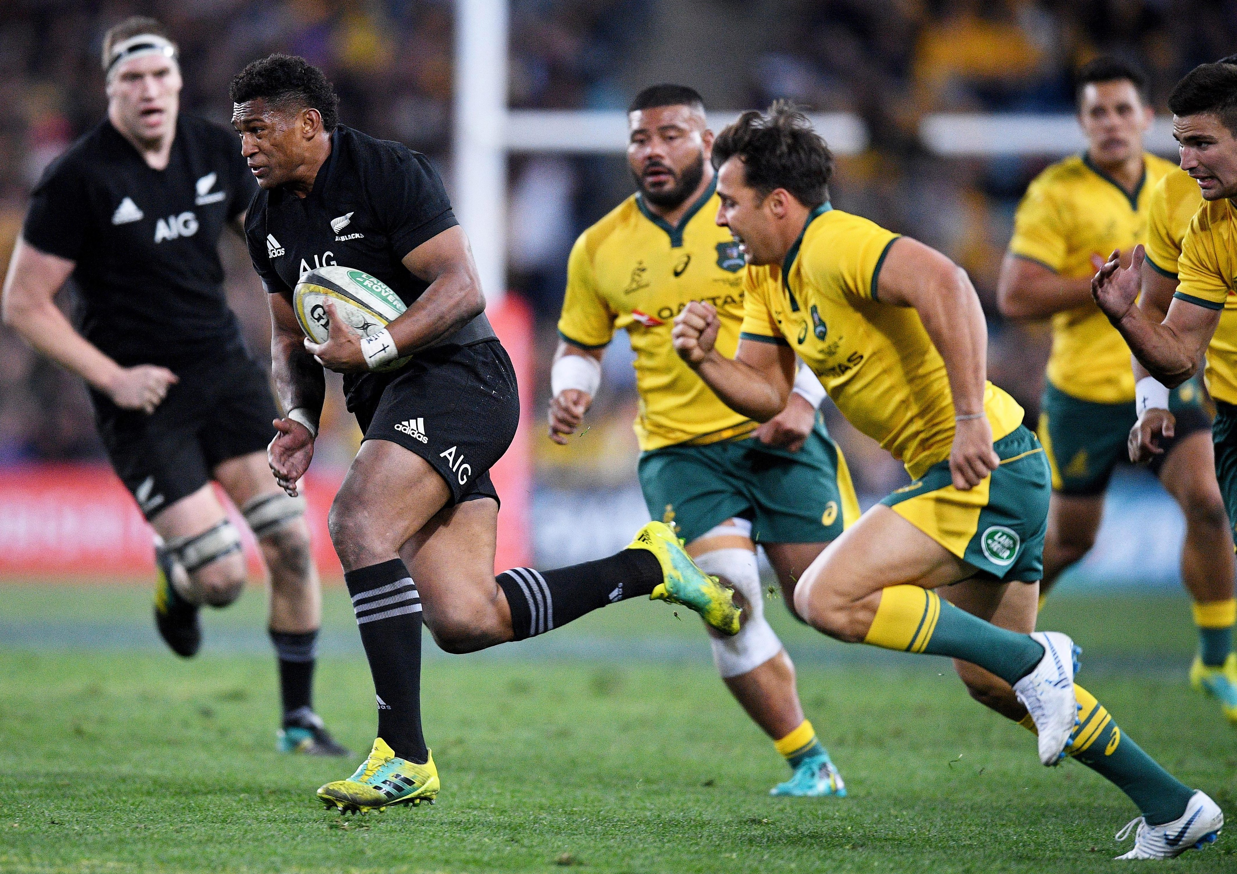 All Black Waisake Naholo makes a break to score during the first Bledisloe Cup Test