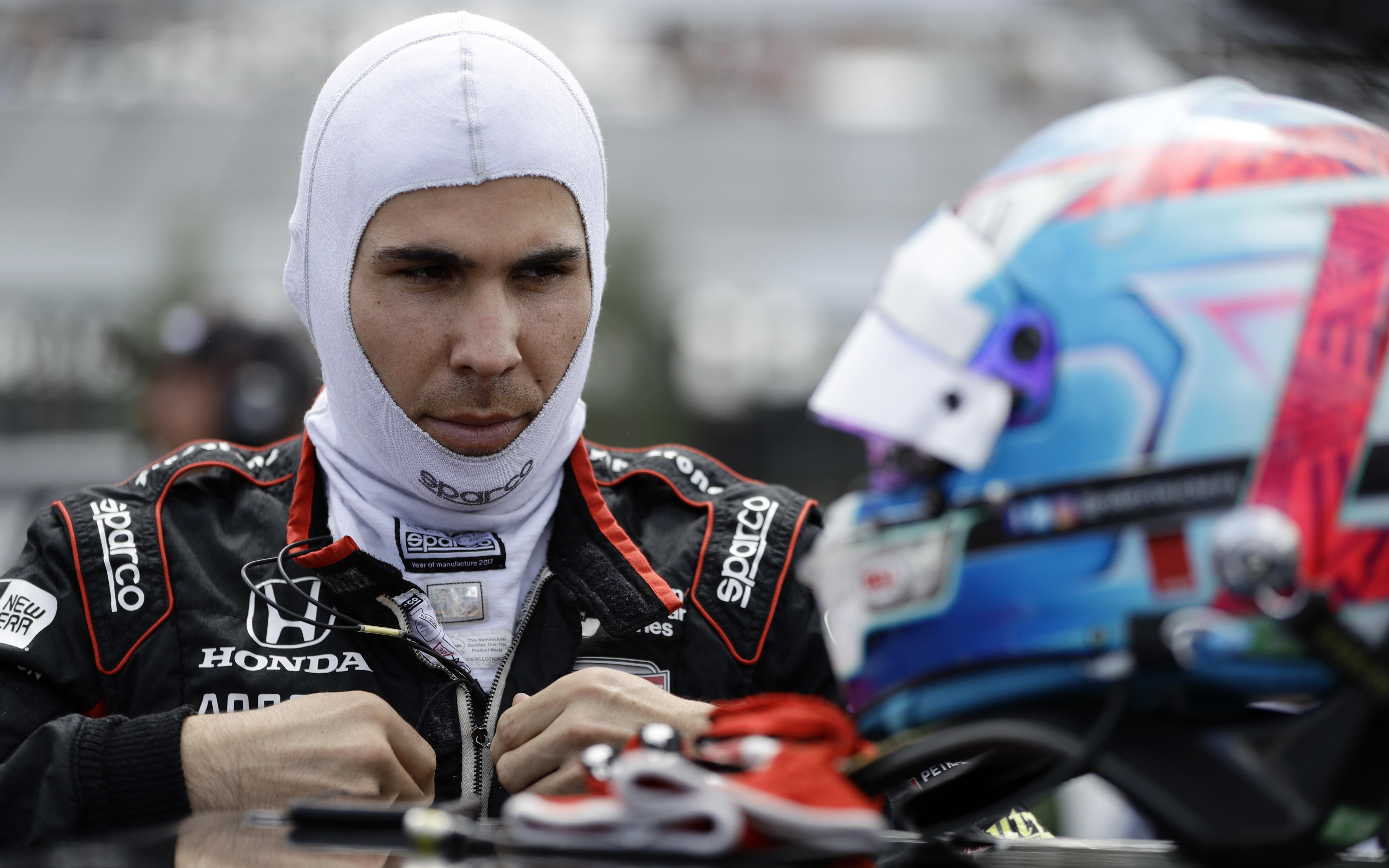 Canadian driver Robert Wickens, pictured before the race, was airlifted to hospital with 'orthopaedic injuries'