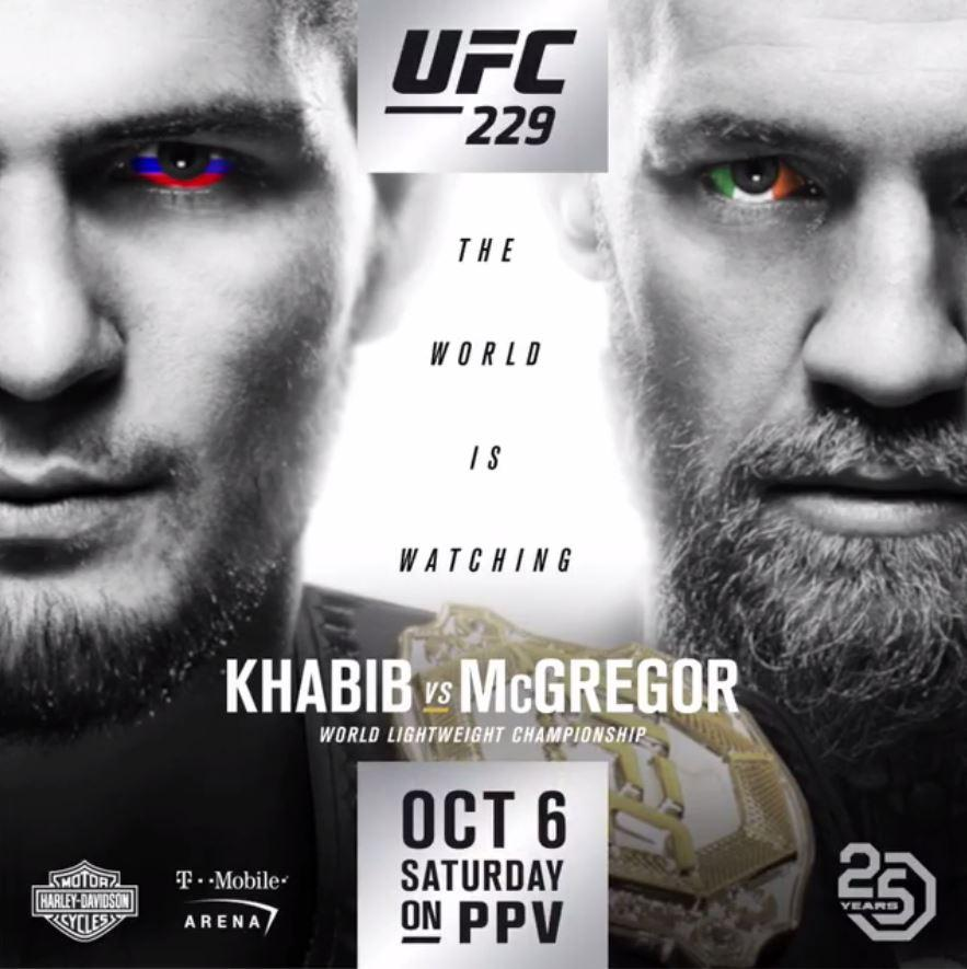 Khabib Nurmagomdeov is on the left as he is the champion