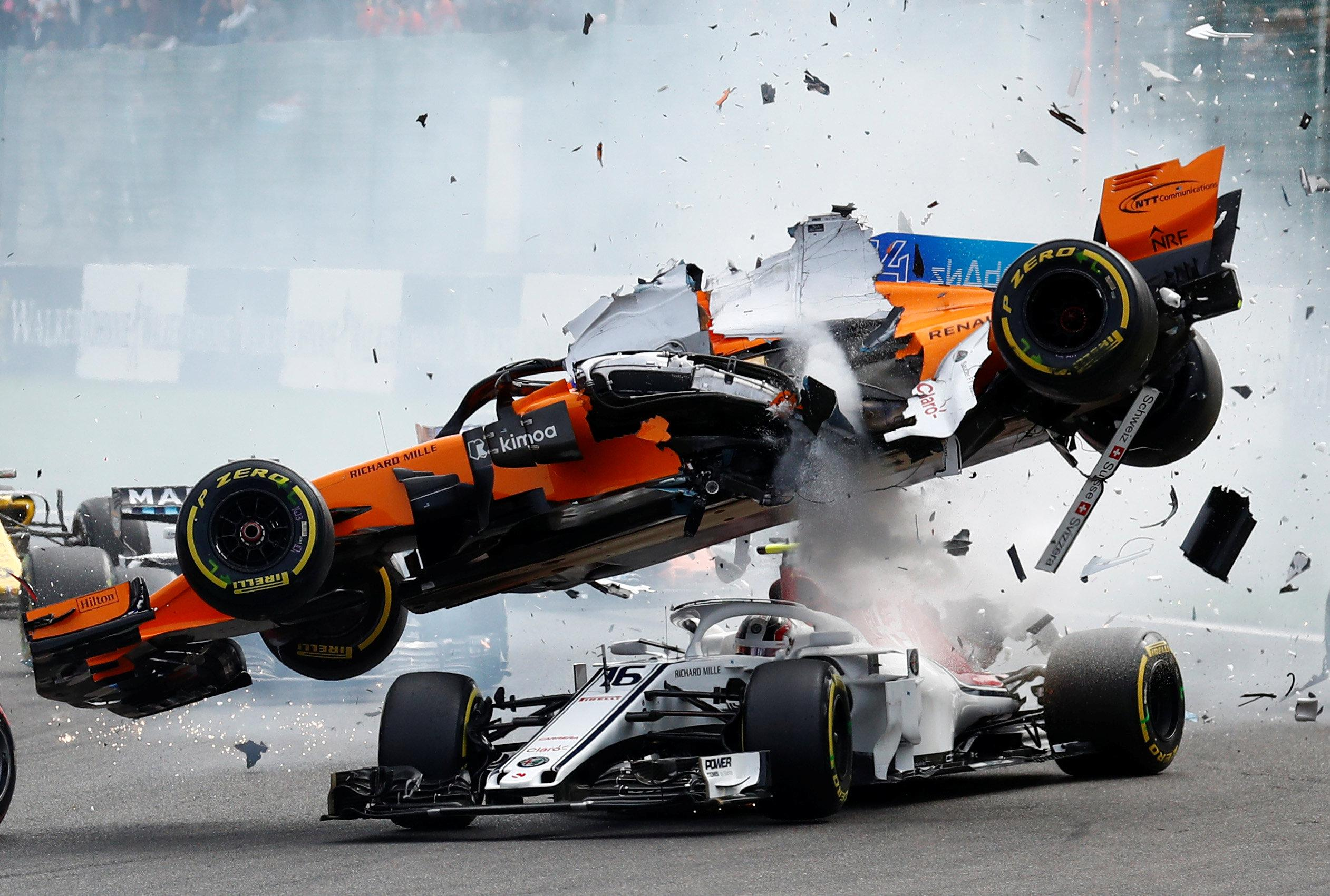 Fernando Alonso was thrown in the air after being hit by Nico Hulkenburg