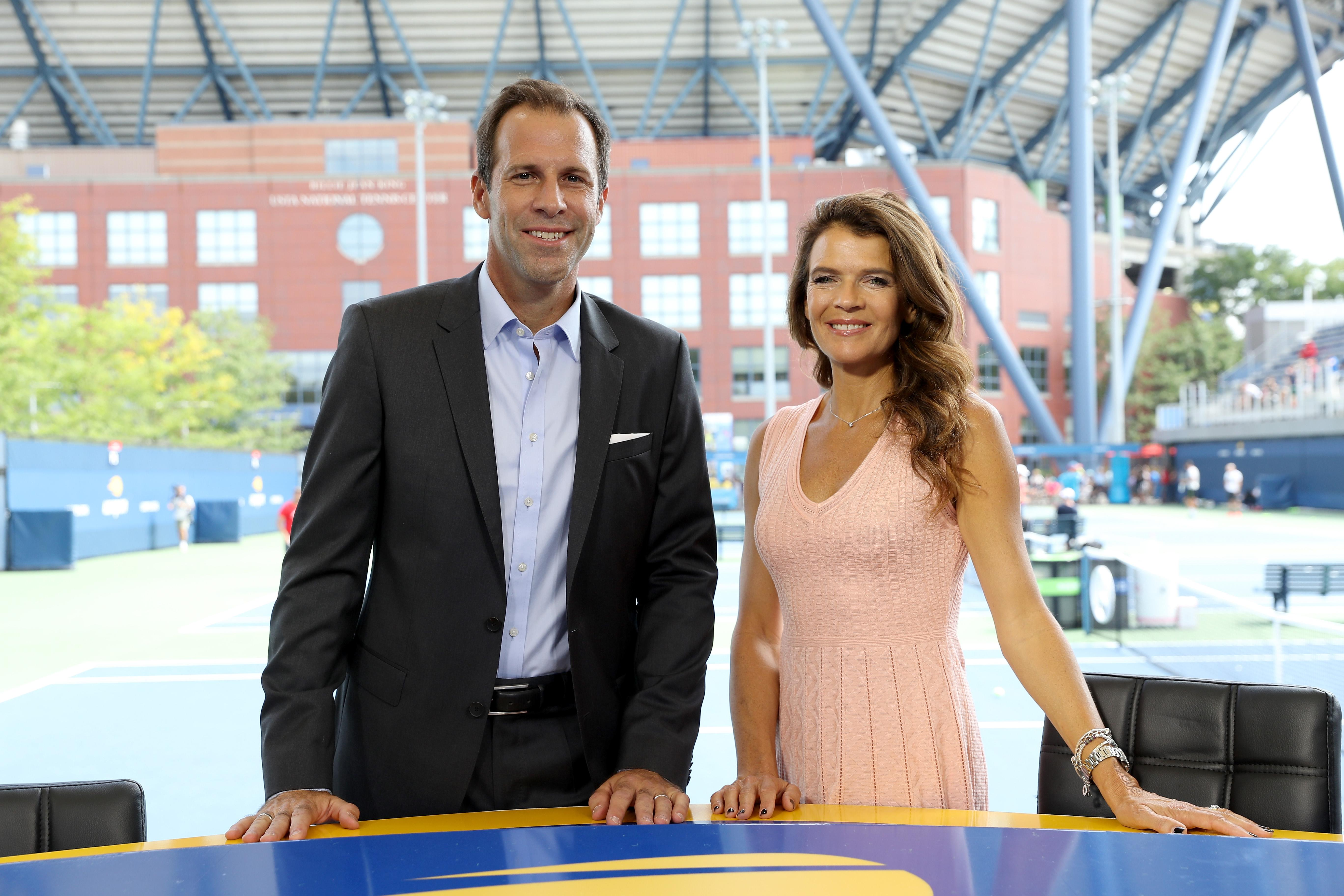 Brits Greg Rusedski and Annabel Croft are two of the hosts of the Grand Slam tournament
